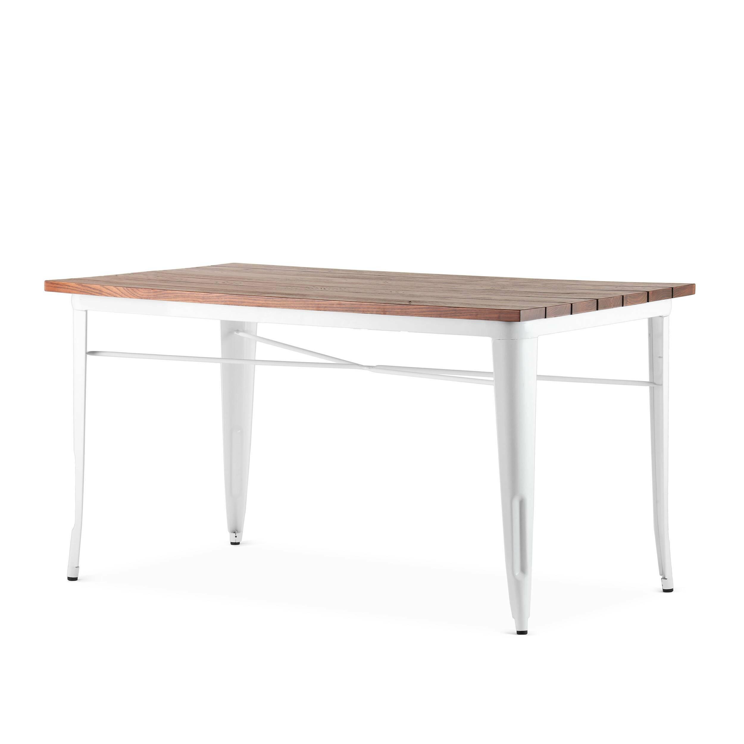 Обеденный стол Marais длина 145Обеденные<br>Стол Marais длина 145 — сделан по эскизам дизайнера Ксавье Пошара, считающегося легендой мирового дизайна. Предметы мебели и обихода, разработанные этим дизайнером, отличались надежностью, высоким качеством и предназначались как для домашнего, так и коммерческого использования. Стол Marais можно было встретить и на ярмарках, и в бистро, и на задних двориках. Такую широкую популярность это изделие обрело благодаря прочности своей конструкции из гальванизированной стали, благородной и лакони...<br><br>stock: 0<br>Высота: 73<br>Ширина: 75<br>Длина: 145<br>Цвет ножек: Белый<br>Цвет столешницы: Коричневый<br>Материал столешницы: Массив ивы<br>Тип материала столешницы: Дерево<br>Тип материала ножек: Сталь