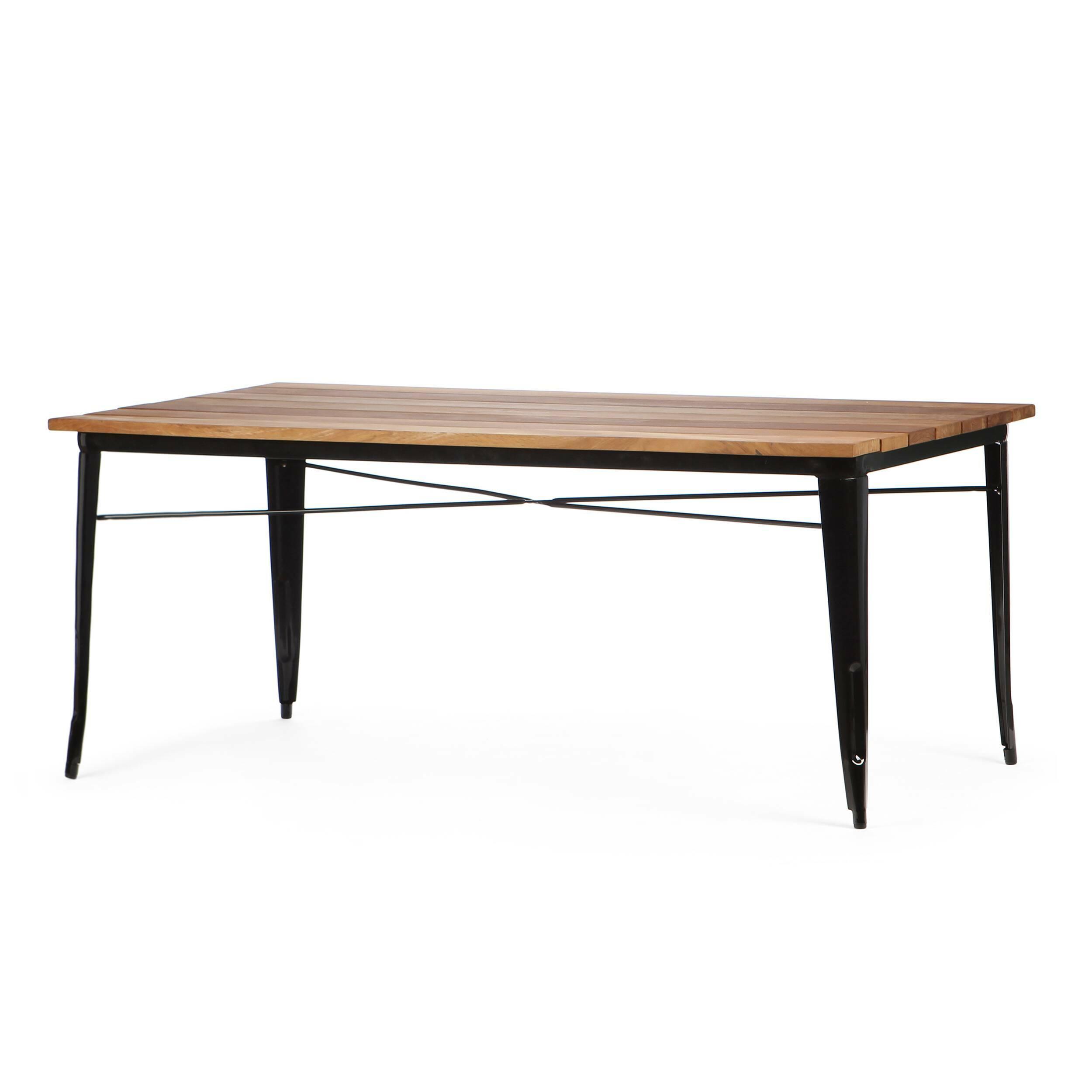 Обеденный стол Marais длина 190Обеденные<br>Дизайнерская длинный легкий обеденный стол Marais (Марейс) длина 190 с металлическим каркасом и столешницей из массива тика от Cosmo (Космо).<br>         Если вы еще не слышали о коллекции мебели Marais, то сообщаем, что это линейка мебели, состоящая из различных столов, кресел и стульев, которая с момента своего создания в тридцатых годах успела стать современной классикой. Ее дизайнер изначально трудился над созданием мебели для заводов и фабрик. Но дизайн так понравился потребителю, что со в...<br><br>stock: 0<br>Высота: 73<br>Ширина: 90<br>Длина: 190<br>Цвет ножек: Черный<br>Цвет столешницы: Коричневый<br>Материал столешницы: Массив тика<br>Тип материала столешницы: Дерево<br>Тип материала ножек: Сталь