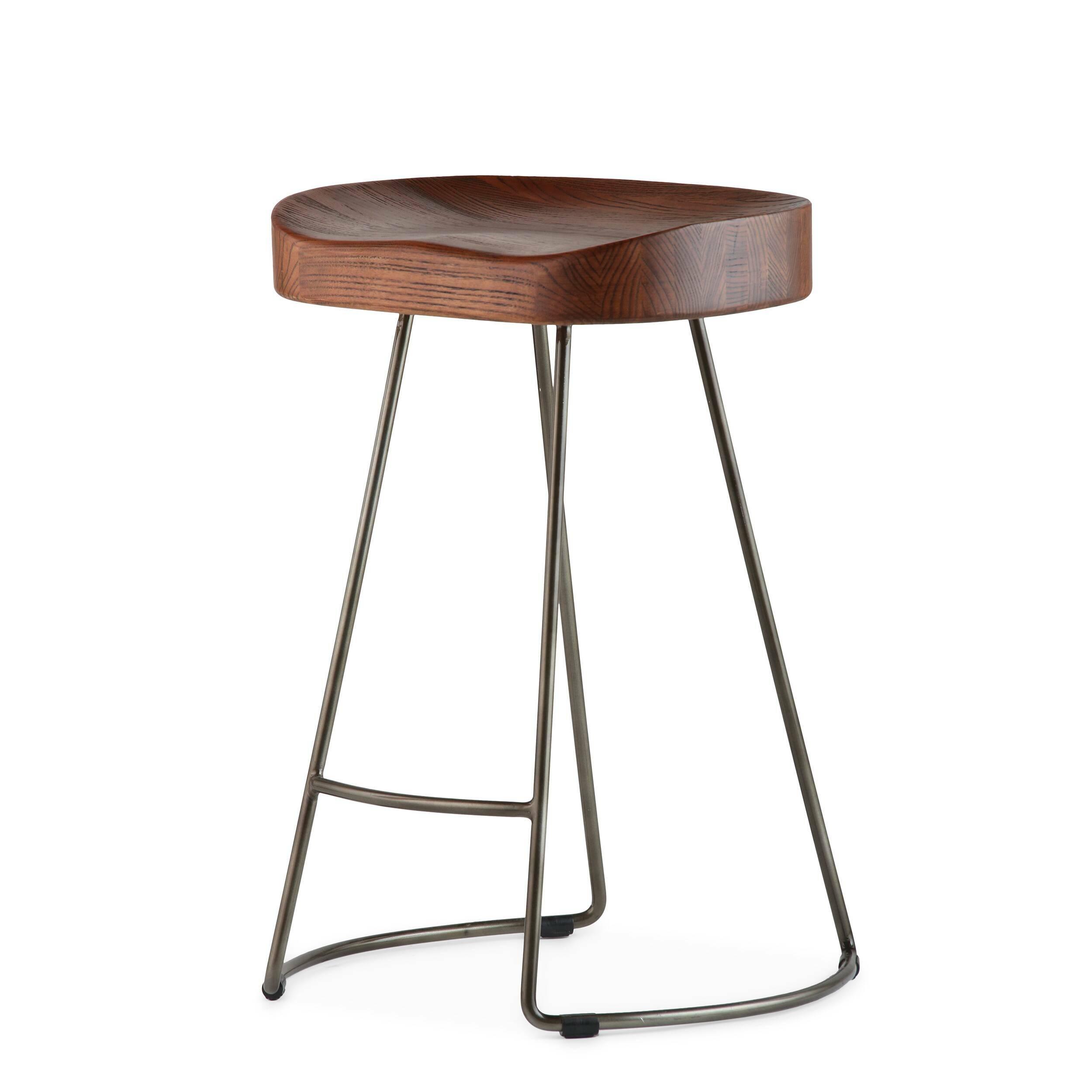 Полубарный стул RogerПолубарные<br>Присядьте на полубарный стул Roger и испытайте на себе высокий уровень комфорта. Стильный полубарный стул Roger от компании Cosmo выполнен в стилистике гранж. Натуральная текстура темного дерева, блеск металлических ножек делают стул привлекательным, но при этом сдержанным. Этот стул относится к той категории мебели, которая становится со временем только краше. Любые потертости или другие механические повреждения внесут особый шарм в общий облик изделия.<br> <br> На ножках стула, которые для обще...<br><br>stock: 0<br>Высота: 62,5<br>Ширина: 45,5<br>Глубина: 41<br>Тип материала каркаса: Сталь<br>Материал сидения: Массив ивы<br>Цвет сидения: Темно-коричневый<br>Тип материала сидения: Дерево<br>Цвет каркаса: Бронза пушечная