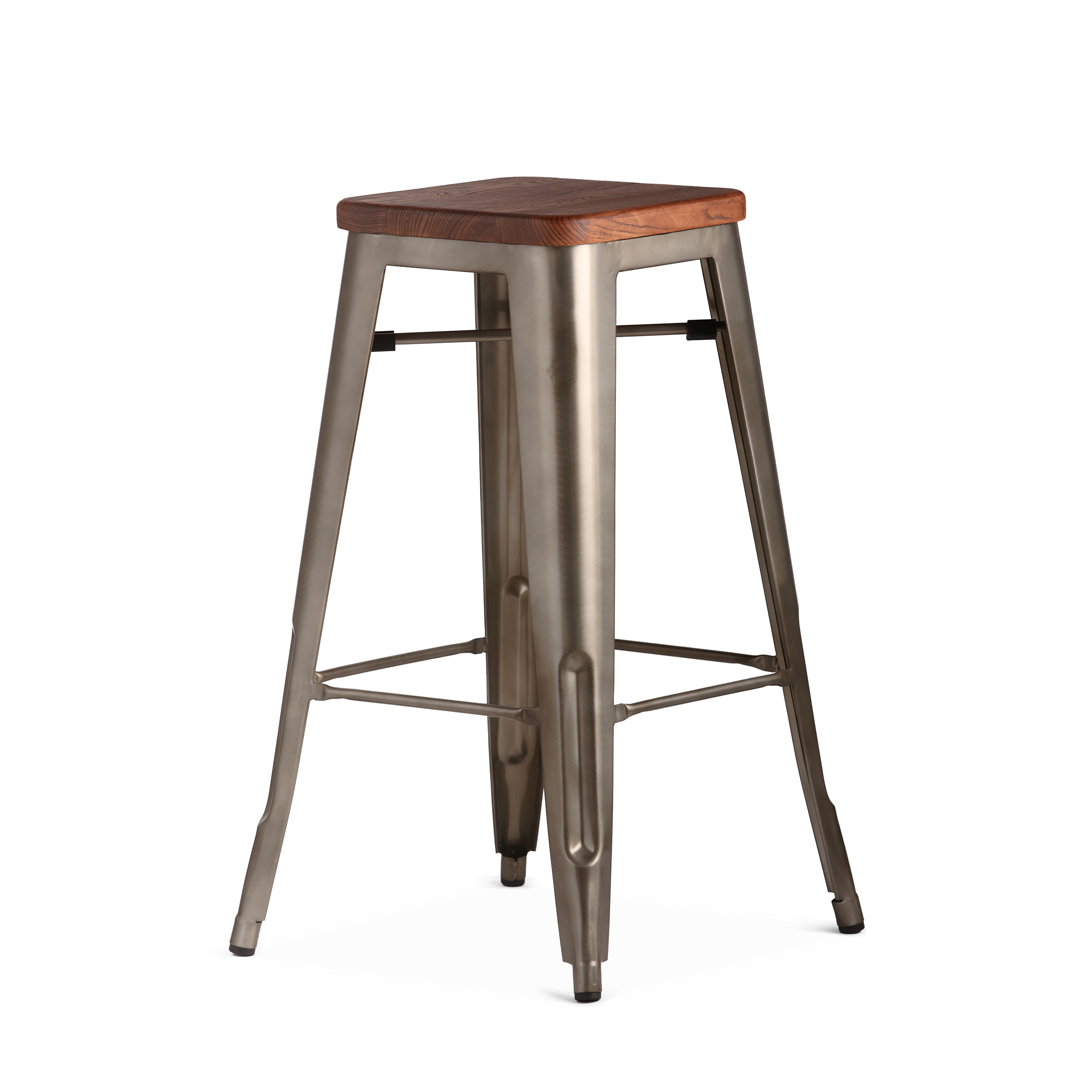 Барный стул Marais 2Барные<br>Дизайнерский высокий барный стул Marais 2 (Марэй) с деревянным сиденьем от Cosmo (Космо). <br>Как и любой элемент мебельной коллекции Marais, данная модель стула обладает высокой прочностью. Дизайн всей линейки изготовлен в едином индустриальном стиле. Каждый элемент конструкции и материал соответствуют стилю, который в последнее время становится все популярнее.<br><br> Оригинальный барный стул Marais 2 — отличный вариант для декорирования кухни в различных современных стилях, среди которых лофт, с...<br><br>stock: 0<br>Высота: 75<br>Ширина: 44<br>Глубина: 44<br>Тип материала каркаса: Сталь<br>Материал сидения: Массив ивы<br>Цвет сидения: Темно-коричневый<br>Тип материала сидения: Дерево<br>Цвет каркаса: Бронза пушечная