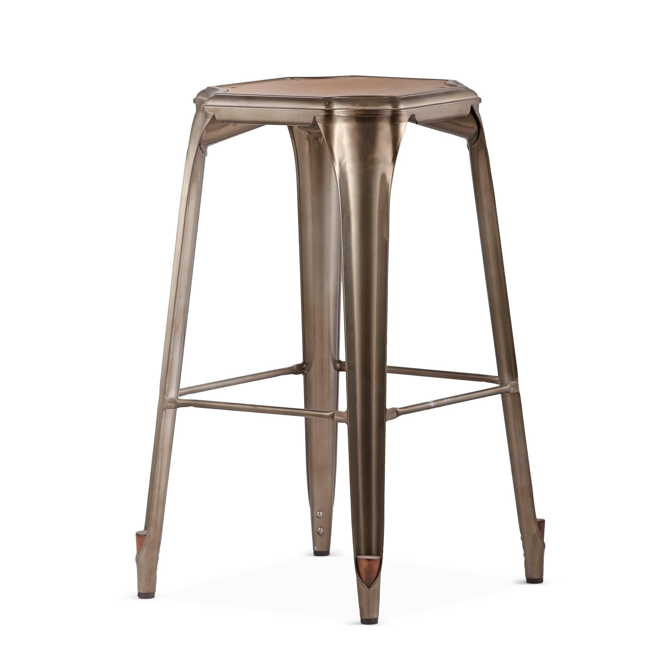 Барный стул Marais без спинкиБарные<br>Дизайнерский барный стул Marais (Марэй) из массива ореха без спинки от Cosmo (Космо). <br><br> Коллекция мебели Tolix французского дизайнера Ксавье Пошара — особая любимица современных европейцев. Она выдержана в актуальном на сегодняшний день индустриальном стиле, основная особенность которого — «обнаженный интерьер». Оставленные на виду провода, трубы, крепежи — это яркое отличие стиля от других. Сталь — самый популярный материал в изготовлении мебели в индустриальном стиле. Очень популярна ме...<br><br>stock: 14<br>Высота: 75<br>Ширина: 46<br>Глубина: 46<br>Тип материала каркаса: Сталь<br>Материал сидения: Массив ореха<br>Цвет сидения: Орех<br>Тип материала сидения: Дерево<br>Цвет каркаса: Бронза пушечная
