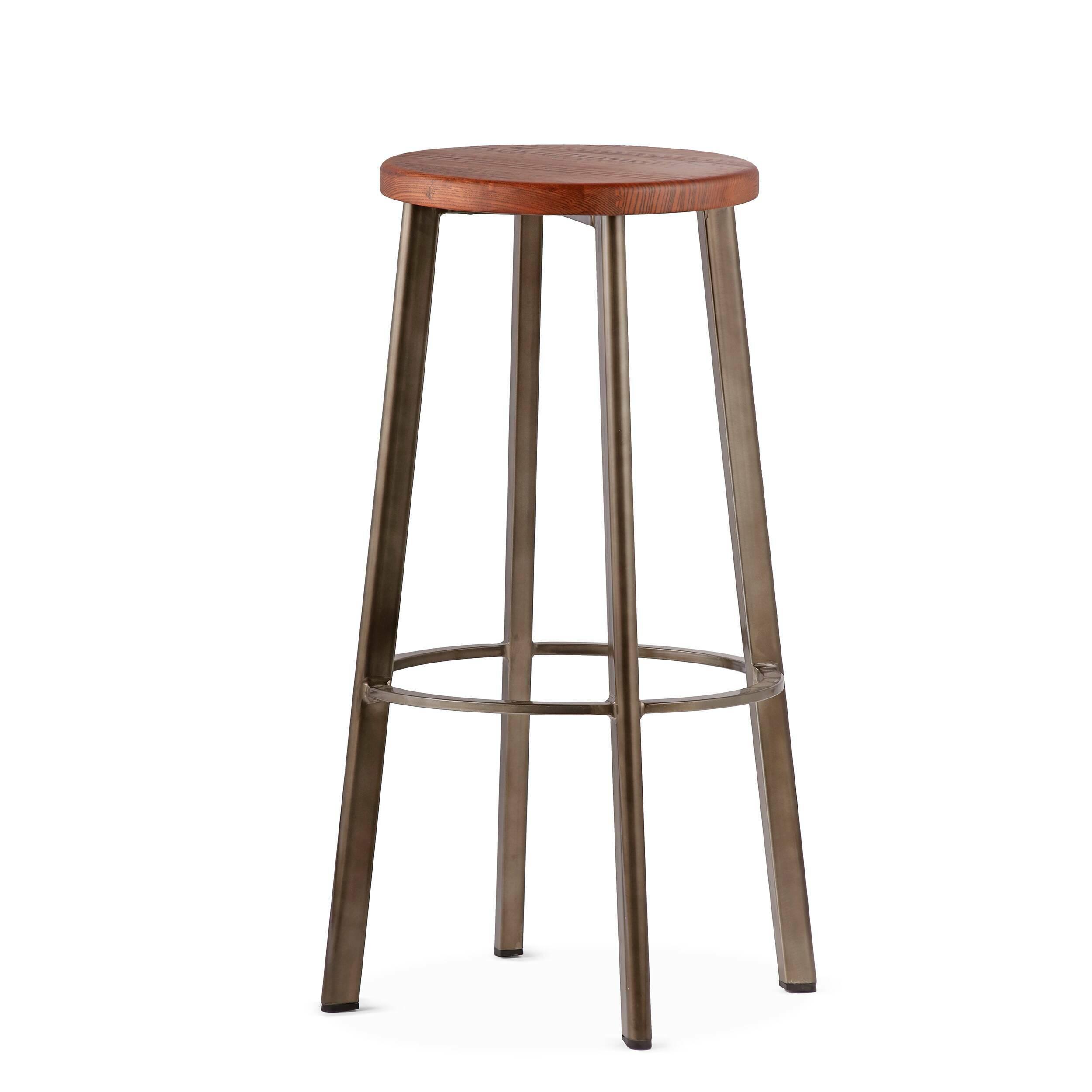 Барный стул StandardБарные<br>Барный стул Standard отлично подходит для создания кухни в нью-йоркском стиле. Французские панорамные окна с видом на город, красные кирпичные стены, мебель индустриального дизайна — все это характерные черты кухонь в «Большом яблоке». <br><br><br> Для дизайна интерьеров в этом стиле следует выбирать предметы мебели лаконичных форм и материалов, среди которых металл, дерево, камень. Массивные обеденные и барные столы всегда становятся центром композиции. Для таких интерьеров всегда присущи сдер...<br><br>stock: 10<br>Высота: 75<br>Диаметр: 40<br>Цвет ножек: Бронза пушечная<br>Материал сидения: Массив ясеня<br>Цвет сидения: Коричневый<br>Тип материала сидения: Дерево<br>Тип материала ножек: Сталь