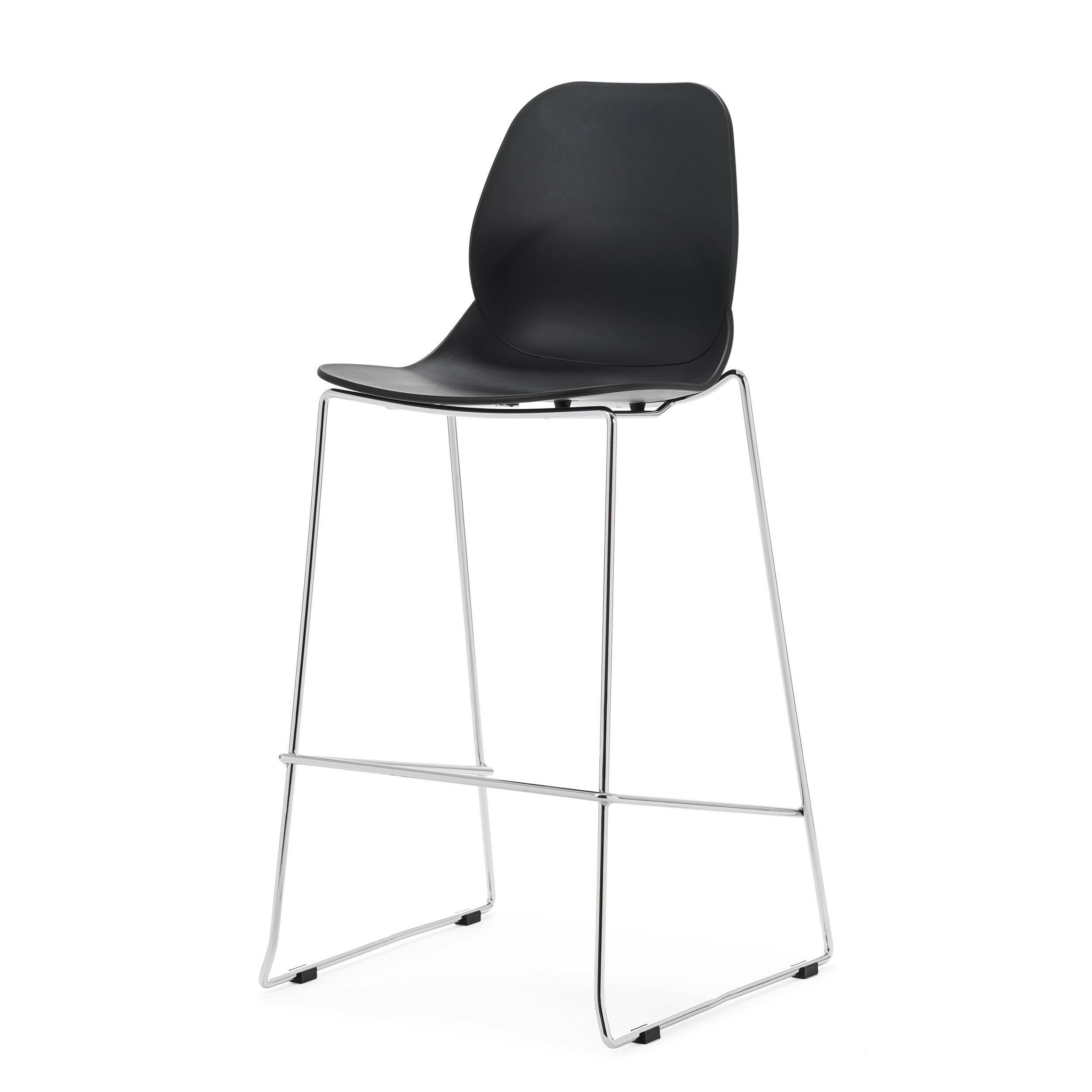 Барный стул LightweightБарные<br>Дизайнерский пластиковый барный стул Lightweight (Лайтвейт) на стальных ножках от Cosmo (Космо). <br>Придайте вашему домашнему интерьеру яркий акцент с помощью яркого барного стула Lightweight от компании Cosmo. Стильная и лаконичная мебель от Cosmo способна как нельзя лучше украсить любой современный интерьер. <br> <br> Более того, стул можно использовать и на открытом воздухе. Если вы будучи предпринимателем находитесь в поисках подходящей мебели для летней веранды вашего кафе, то оригинальный ба...<br><br>stock: 1<br>Высота: 112<br>Высота сиденья: 76<br>Ширина: 54<br>Глубина: 49,5<br>Цвет ножек: Хром<br>Цвет сидения: Черный<br>Тип материала сидения: Полипропилен<br>Тип материала ножек: Сталь нержавеющая