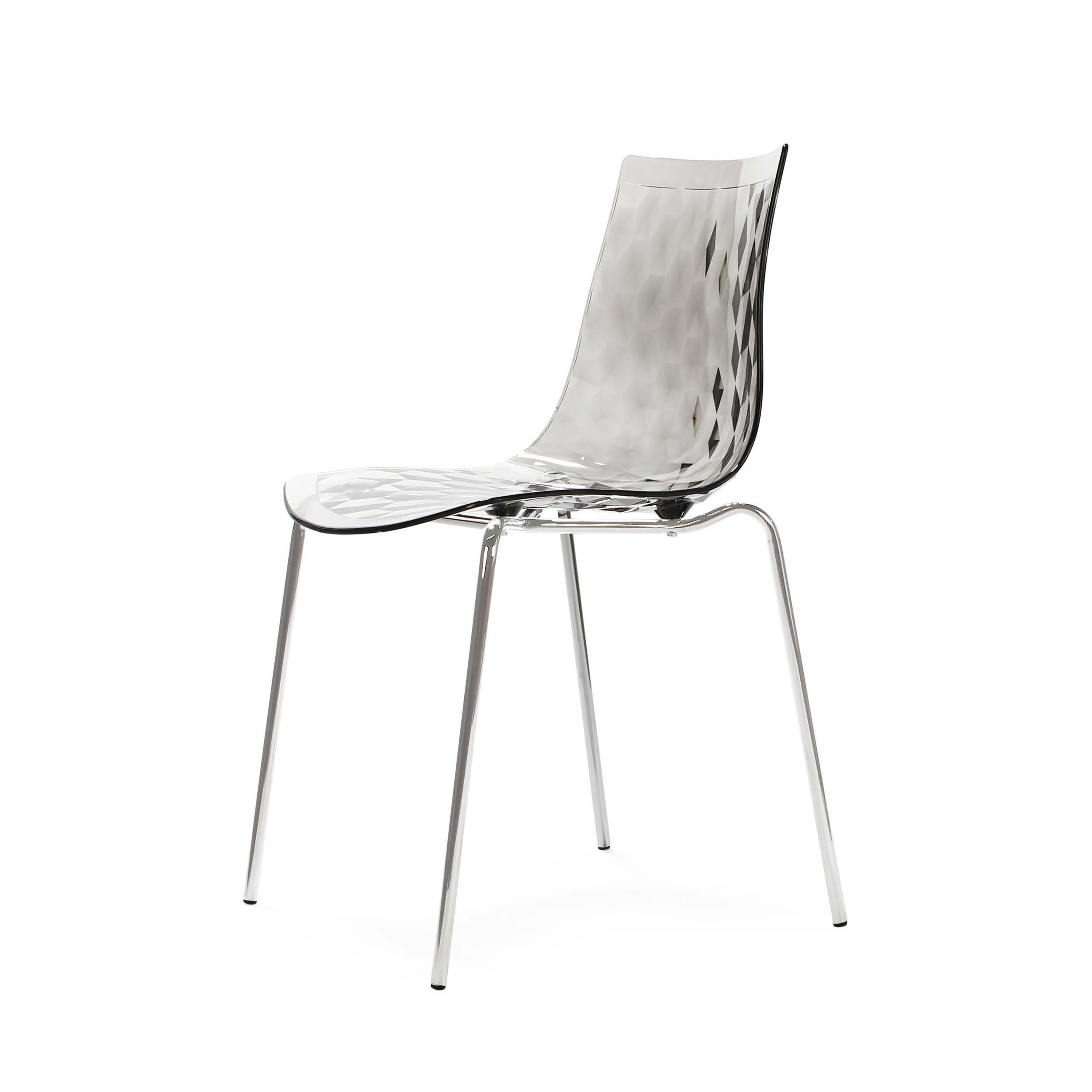 Стул GauzyИнтерьерные<br>Дизайнерский легкий светлый стул Gauzy (Гаузи) из поликарбоната на тонких стальных ножках от Cosmo (Космо).<br><br>     Приятный лаконичный дизайн стула Gauzy обязательно порадует даже самых строгих ценителей современного дизайна. Мягкие изгибы стула не только хороши на вид, но на нем и комфортно сидеть. <br><br><br>     Необычное оригинальное ребристое тиснение на поверхности сиденья — одна из основных особенностей дизайна изделия. Также очень примечательным является выбор материала. Поликарбонат — эт...<br><br>stock: 2<br>Высота: 83,5<br>Высота сиденья: 47<br>Ширина: 51,5<br>Глубина: 50,5<br>Цвет ножек: Хром<br>Материал каркаса: Поликарбонат<br>Тип материала каркаса: Пластик<br>Тип материала ножек: Сталь нержавеющая<br>Цвет каркаса: Дымчатый