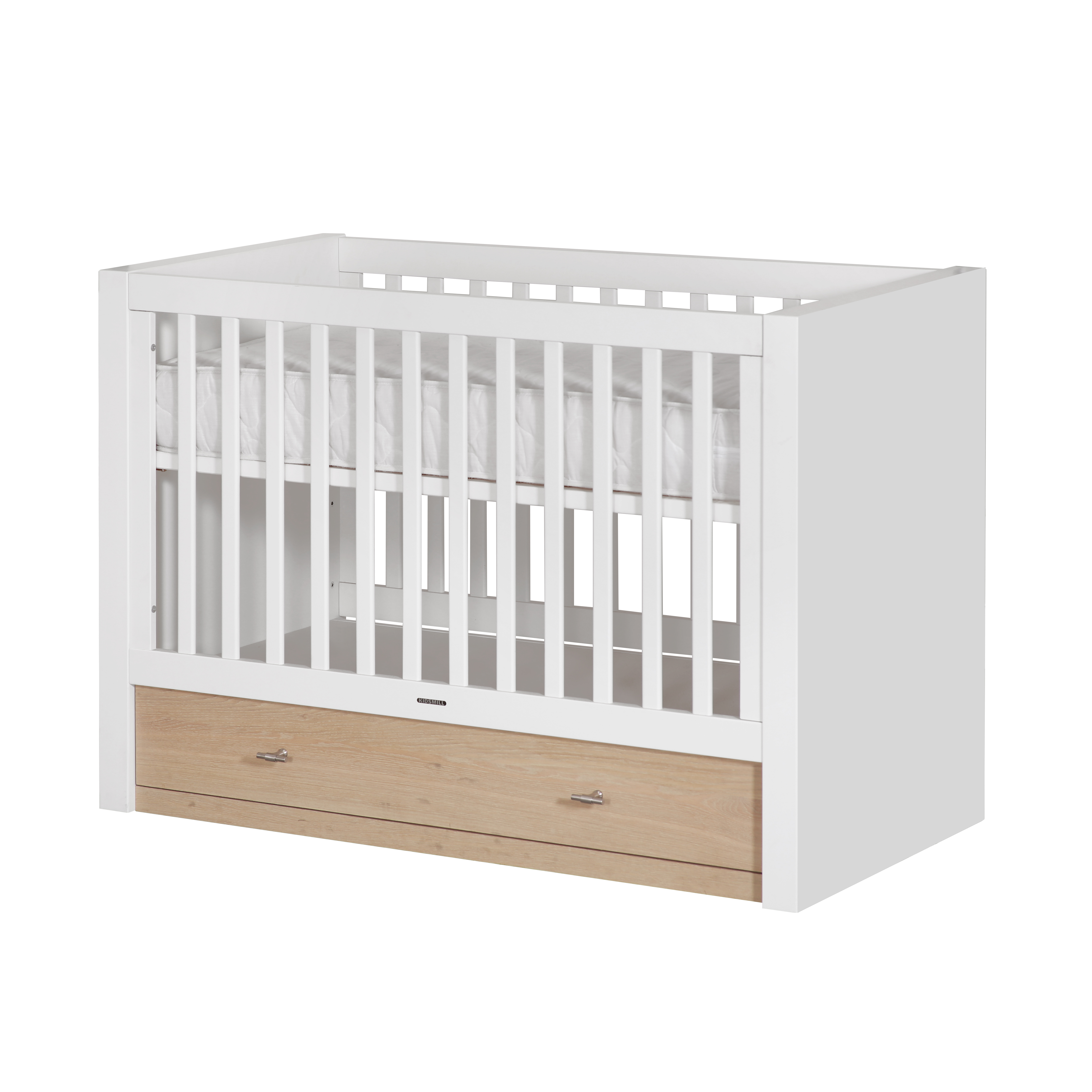 Детская кровать Diamond, 60х120Мебель для детей<br><br><br>stock: 0<br>Высота: 93<br>Ширина: 65<br>Длина: 132<br>Цвет ножек: Коричневый<br>Материал каркаса: МДФ<br>Материал ножек: МДФ, шпон дуба<br>Цвет каркаса: Белый