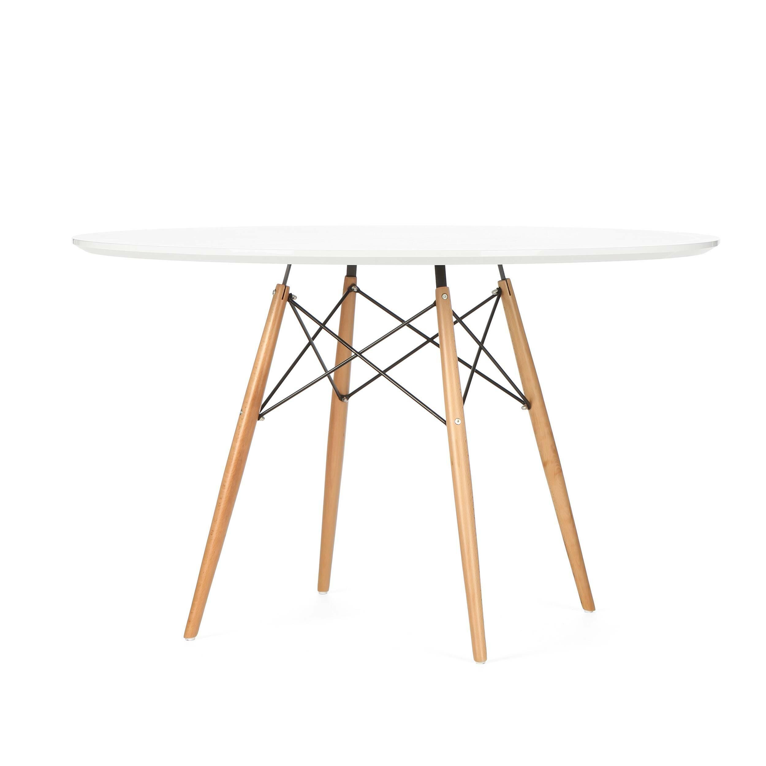 Обеденный стол Eiffel диаметр 120Обеденные<br>Дизайнерская легкий круглый ламинированный обеденный стол Eiffel (Ефель) диаметр 120 на тонких деревянных ножках от Cosmo (Космо).<br> Если вы ищете стол, за которым можно обедать, работать и играть как в помещении, так и снаружи, то приглядитесь к обеденному столу Eiffel диаметр 120. Вневременной дизайн, разработанный еще сорок лет назад, успел стать любимцем миллионов потребителей по всему миру.<br> <br> Благодаря различному оригинальному цветовому исполнению стол может вписаться в любой современ...<br><br>stock: 9<br>Высота: 74,5<br>Диаметр: 120<br>Цвет ножек: Светло-коричневый<br>Цвет столешницы: Белый<br>Материал столешницы: Ламинированный МДФ<br>Тип материала столешницы: МДФ<br>Тип материала ножек: Дерево