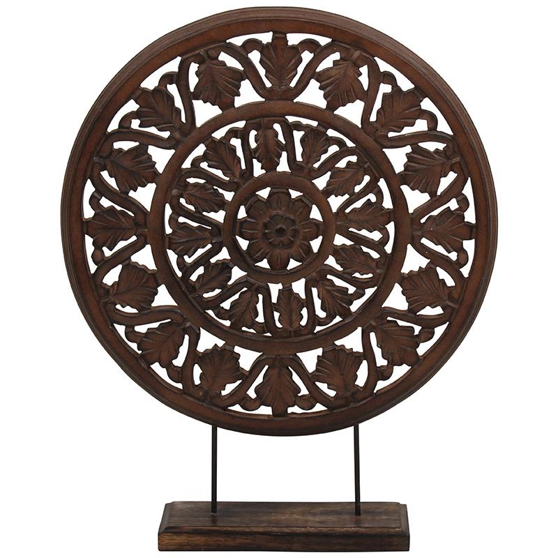 Статуэтка BRAHMA (89025349965)Настольные<br>Артикул: 89025349965. Украсьте ваш дом статуэткой BRAHMA. Ее сложносочиненные контуры следуют восточной традиции резьбы по дереву. Заключенная в круглую форму она гармонизирует пространство и смягчает острые углы. Подобный аксессуар будет логичным дополнением этнического стиля. Темный колор древесной фактуры будет органично смотреться в окружении аметистовых и изумрудных оттенков. Поставьте ее на полку и дополните аромадиффузором для большего погружения в обволакивающе расслабляющую атмосферу...<br><br>stock: 2<br>Высота: 50<br>Материал: Дерево<br>Цвет: Белый<br>Размер: 50<br>Страна происхождения: Швеция