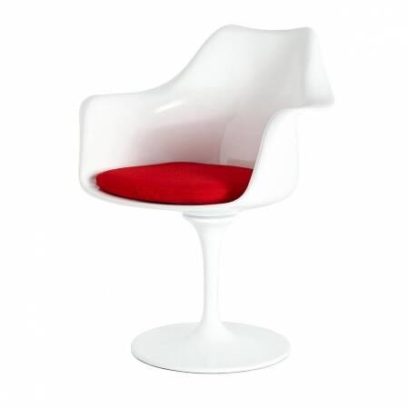 Cтул Tulip с подлокотниками и мягкой подушкойИнтерьерные<br>Дизайнерский мягкий стул Tulip (Тулип) с подлокотниками и мягкой подушкой из стекловолокна на глянцевой ножке с кожаным сиденьем от Cosmo (Космо).<br><br>     Свои основные идеи финн Ээро Сааринен черпал в аскетичном подходе к дизайну, воплощая их в наиболее эффективных конструкционных решениях. «Решение любой дизайнерской задачи нужно искать в следующей, более крупной вещи, — утверждал Сааринен. — Если загвоздка в стуле, мы должны смотреть на то, как он соотносится с комнатой». Именно в стуле Tu...<br><br>stock: 0<br>Высота: 80,5<br>Высота сиденья: 47<br>Ширина: 66<br>Глубина: 58<br>Цвет ножек: Белый глянец<br>Тип материала каркаса: Стекловолокно<br>Материал сидения: Шерсть, Нейлон<br>Цвет сидения: Вишня<br>Тип материала сидения: Ткань<br>Коллекция ткани: B Fabric<br>Тип материала ножек: Алюминий<br>Цвет каркаса: Белый глянец
