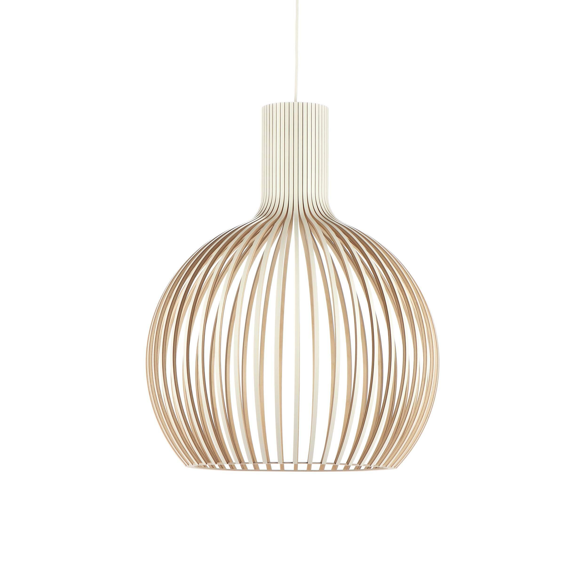 Подвесной светильник Octo 4240Подвесные<br>Подвесной светильник Octo 4240<br><br> Компания Secto Design является финским производителем дизайнерских светильников из дерева, обретающих всемирную известность. Изготавливаемые вручную высококвалифицированными специалистами из натуральной древесины березы, они наделены простотой и четкостью скандинавского стиля. Торшеры, подвесные светильники и настенные бра, а также настольные лампы обеспечивают мягкое свечение и придают атмосферность любому помещению.<br><br><br> Подвесной светильник Octo 4240 из...<br><br>stock: 0<br>Высота: 68<br>Диаметр: 54<br>Количество ламп: 1<br>Материал арматуры: Береза<br>Мощность лампы: 40<br>Ламп в комплекте: Нет<br>Напряжение: 220<br>Теплота света: 3000<br>Тип лампы/цоколь: E27<br>Цвет арматуры: Белый