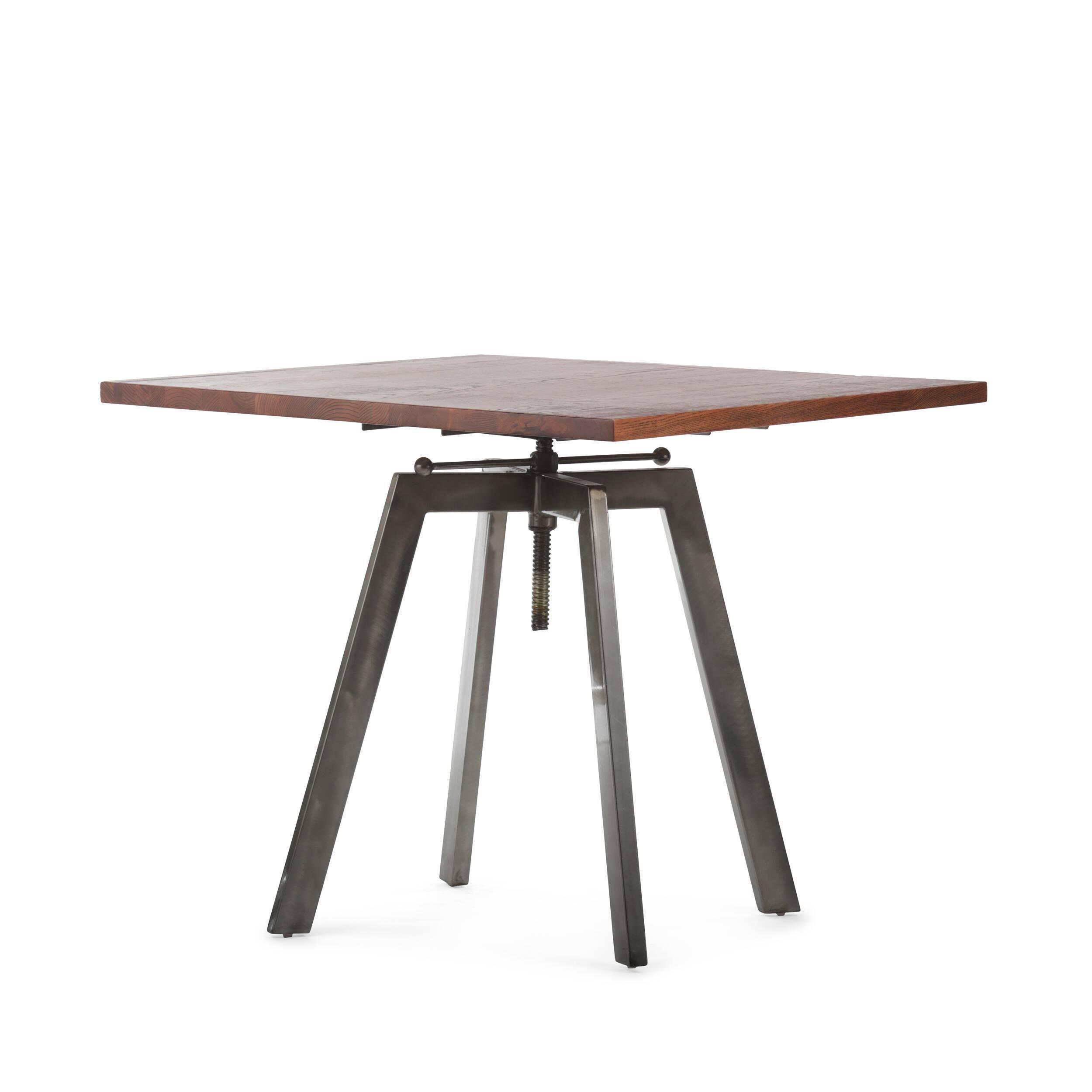 Обеденный стол ToughОбеденные<br>Дизайнерская квадратный обеденный стол Tough в индустриальном стиле со столешницей из массива дерева от Cosmo (Космо).Никакая обеденная зона не обойдется без обеденного стола — полноценного участника интерьера, собирающего всю семью за трапезой. Стол Tough — это массивный обеденный стол в индустриальном стиле, о чем говорят подобранные материалы и конструкция изделия. Антикварная столешница из натурального дерева в сочетании с грубым металлом выглядит эффектно и колоритно. <br> <br> Важным момент...<br><br>stock: 0<br>Высота: 72-92<br>Ширина: 80<br>Длина: 80<br>Цвет ножек: Бронза пушечная<br>Цвет столешницы: Антикварный<br>Материал столешницы: Массив ивы<br>Тип материала столешницы: Дерево<br>Тип материала ножек: Сталь