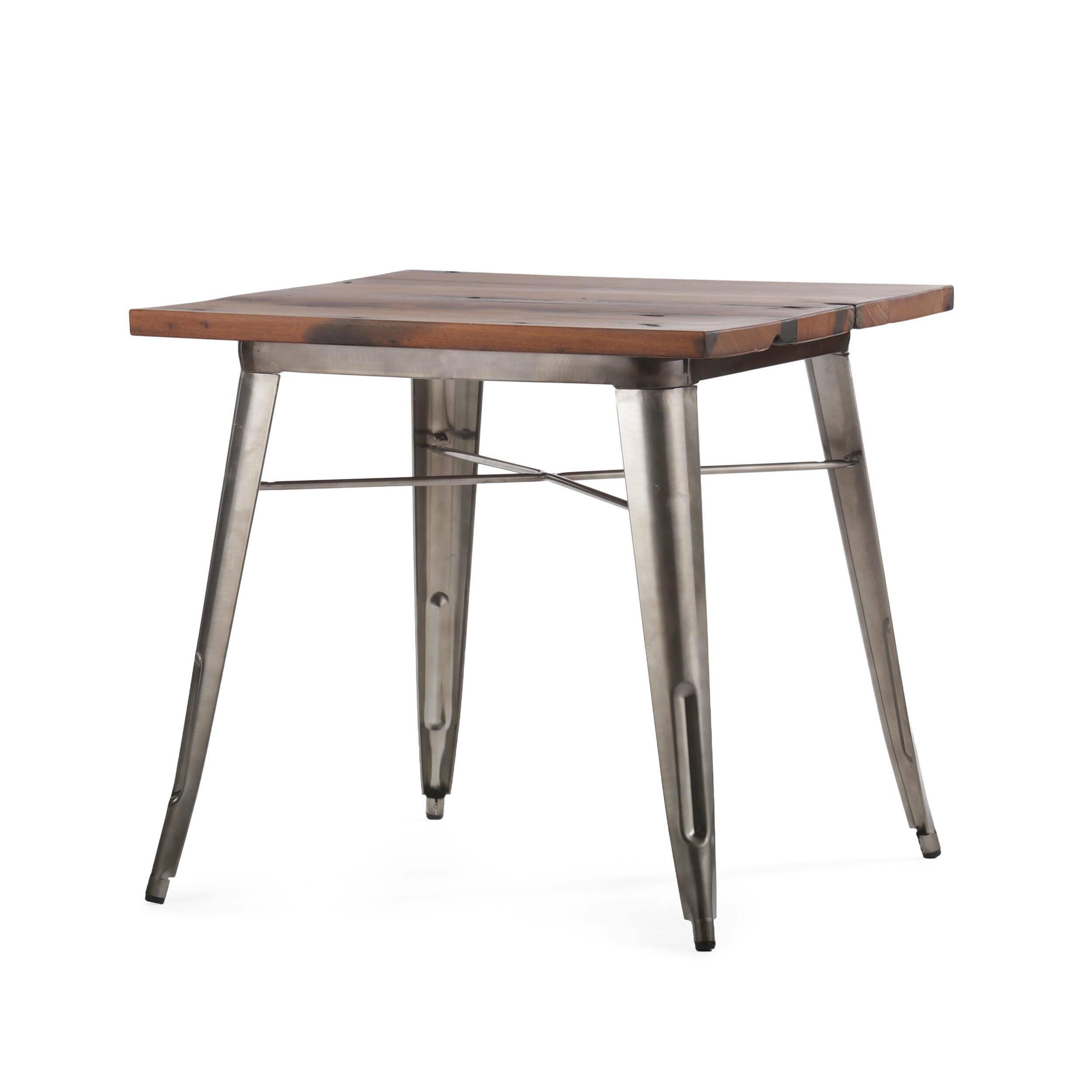 Обеденный стол TolixОбеденные<br>Дизайнерская квадратный обеденный стол Tolix на металлическом каркасе с состаренной деревянной столешницей от Cosmo (Космо).Данная модель обеденного стола — это одна из вариаций столов из коллекции Tolix, которая представляет собой широкий ассортимент мебельной продукции. Каждая модель считается эталоном современного дизайна, впервые появившегося в свет в тридцатые года прошлого столетия. Когда французский дизайнер Ксавье Пошар разработал особый метод обработки металла, гальванизацию, в свет ...<br><br>stock: 0<br>Высота: 77<br>Ширина: 80<br>Длина: 80<br>Цвет ножек: Бронза пушечная<br>Цвет столешницы: Коричневый<br>Материал столешницы: Массив состаренного дерева<br>Тип материала столешницы: Дерево<br>Тип материала ножек: Сталь
