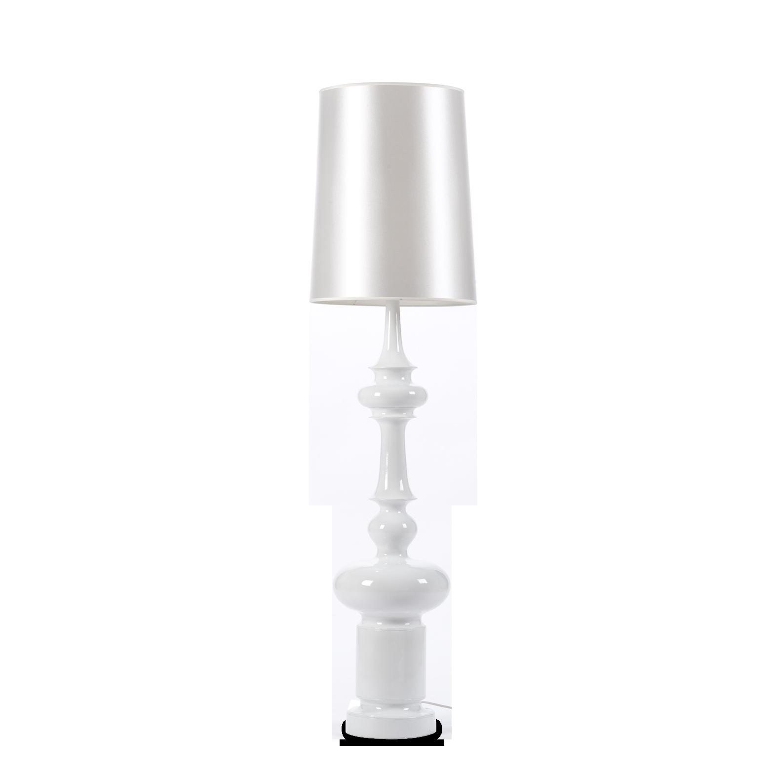 Напольный светильник KingНапольные<br>Напольный светильник King — классика, облаченная в цвет современного минимализма. Это по-настоящему красивый, ультрамодный светильник был разработан итальянским дизайнером Джорджо Гуриоли. Джорджо Гуриоли — современный и стремительно набирающий популярность дизайнер, которой постоянно создает все новые и новые светильники необычной формы, приковывающие взгляды миллионов людей по всему миру.<br> <br> Напольный светильник King имеет весьма громкое и броское имя и назван он так из-за высоты ножки, а...<br><br>stock: 0<br>Высота: 155<br>Диаметр: 40<br>Количество ламп: 1<br>Материал абажура: Ткань<br>Материал арматуры: Стеклопластик<br>Ламп в комплекте: Нет<br>Напряжение: 220<br>Тип лампы/цоколь: E27<br>Цвет абажура: Белый<br>Цвет арматуры: Белый