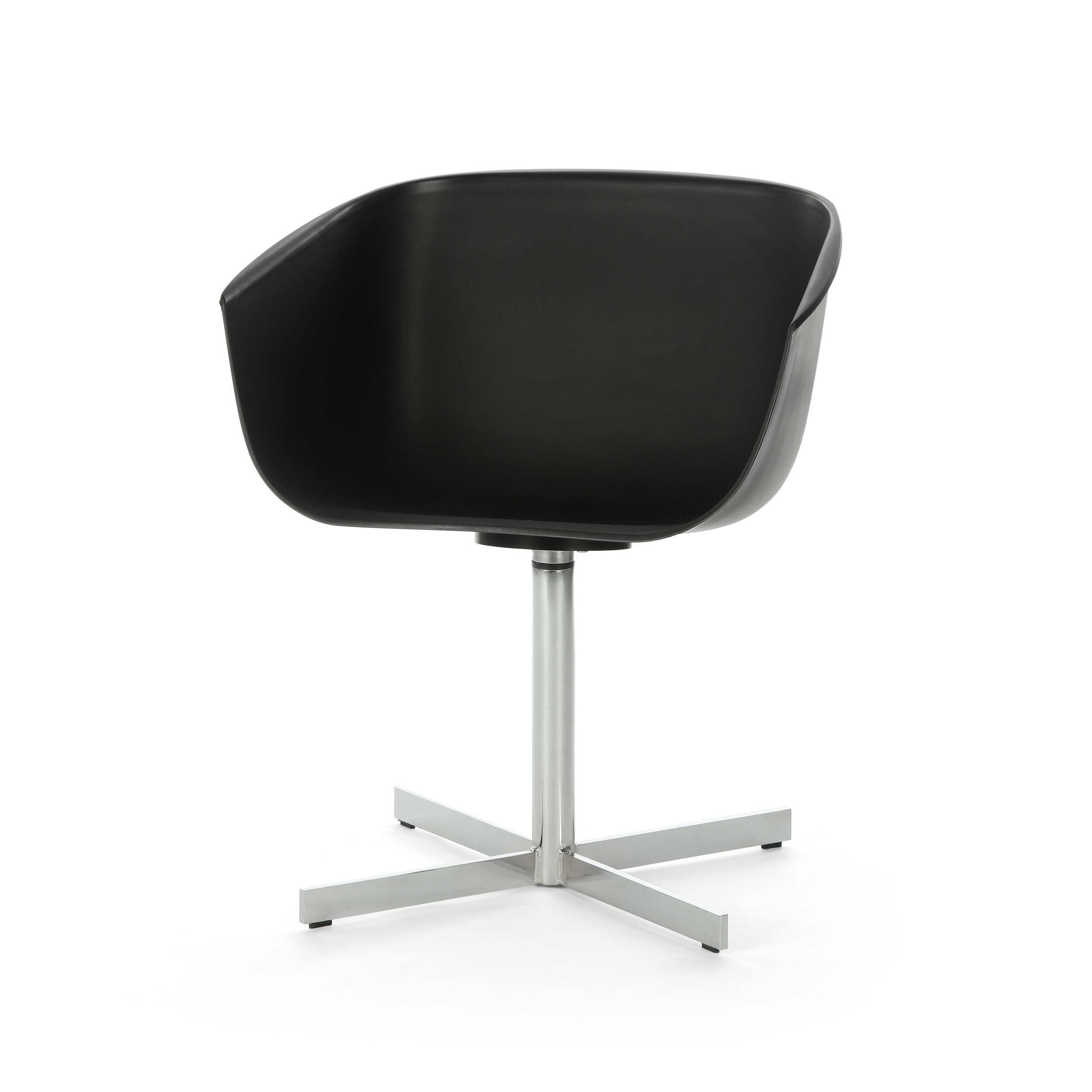 Стул VisitorИнтерьерные<br>Дизайнерский черный стул Visitor (Визитор) в форме чаши на стальной хромированной ножке от Cosmo (Космо).<br><br>     Необычный и в то же время строгий и сдержанный — отличный кандидат на роль мебели в офисе креативного и целеустремленного коллектива. Стул Visitor — классическая модель офисной мебели, которая так часто встречается на работе, во время обеденного перерыва, за домашним компьютером и даже во время отдыха.<br><br>Удобный, оригинальный, простой в обращении, этот офисный стул будет органичн...<br><br>stock: 2<br>Высота: 72,5<br>Высота сиденья: 44,5<br>Ширина: 59<br>Глубина: 53<br>Цвет ножек: Хром<br>Цвет сидения: Черный<br>Тип материала сидения: Полипропилен<br>Тип материала ножек: Сталь