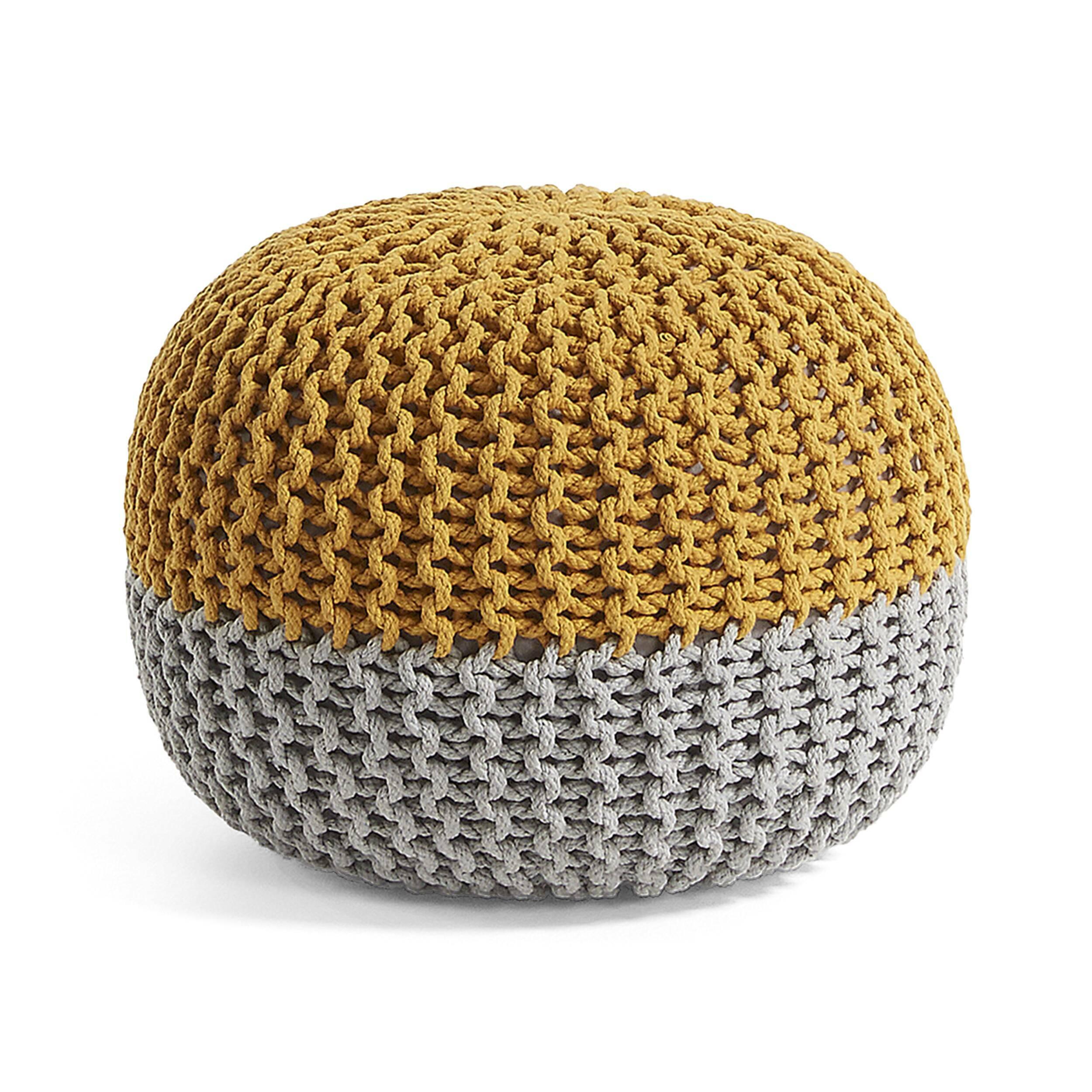 Пуф ARIEH 50x35 желто-серый
