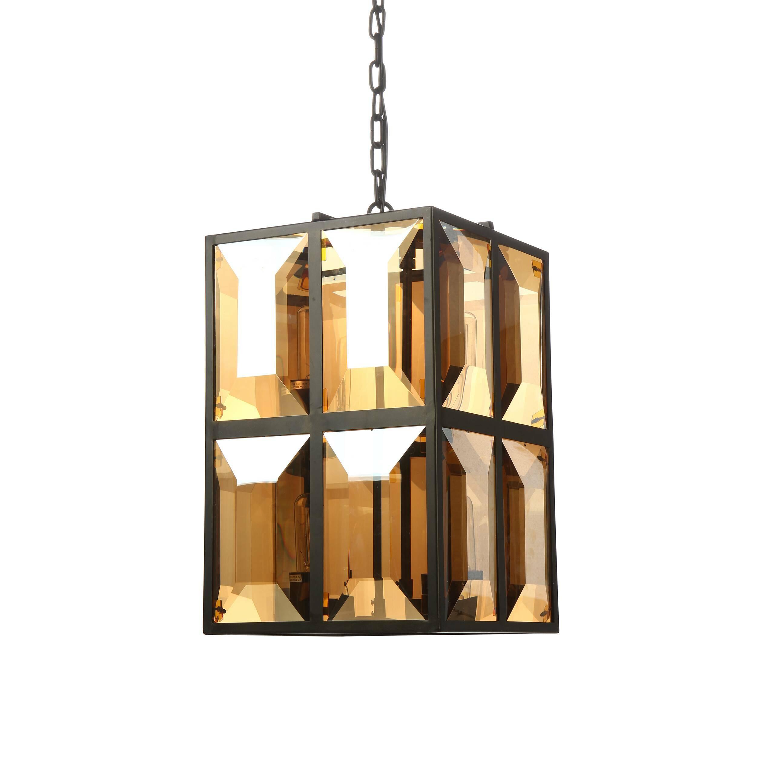 Подвесной светильник WindowПодвесные<br>Основная стилеобразующая черта подвесного светильника Window — это его правильная геометрия. Его параметры вымерены с точностью до миллиметра. Идеальные прямые углы и линии изделия невероятно органичны и подходят для использования в различных современных интерьерах, выполненных в таких стилях, как техно, конструктивизм, индастриал.<br> <br> Благодаря лампам накаливания в его дизайне есть оттенок стиля ретро. Именно они создают это уникальное ощущение, поскольку точно повторяют форму старинных лам...<br><br>stock: 6<br>Высота: 58<br>Ширина: 38<br>Длина: 38<br>Количество ламп: 8<br>Материал абажура: Стекло<br>Материал арматуры: Металл<br>Мощность лампы: 40<br>Ламп в комплекте: Нет<br>Напряжение: 220-240<br>Тип лампы/цоколь: E27<br>Цвет абажура: Янтарь<br>Цвет арматуры: Черный<br>Цвет провода: Черный