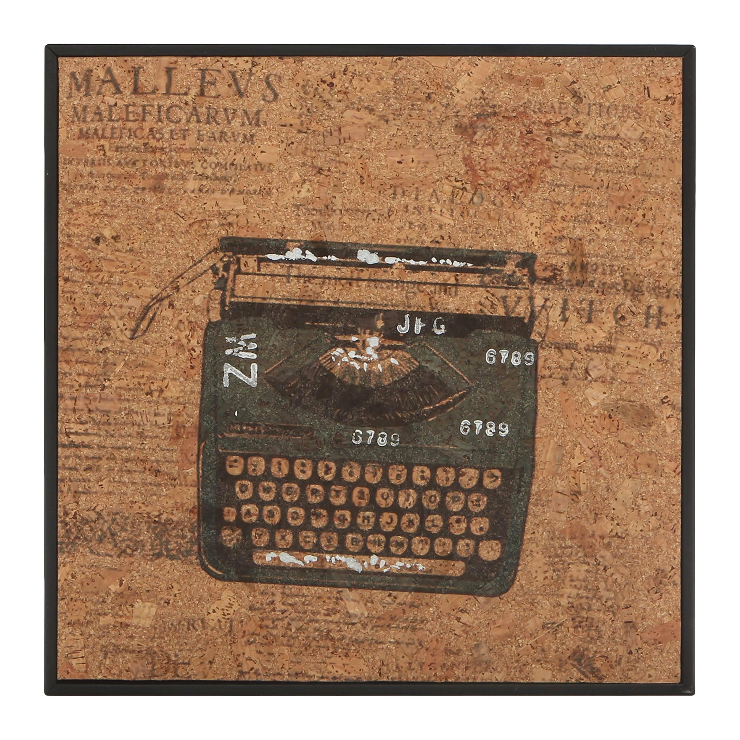 Картина TypewriterКартины<br>Когда вся мебель размещена в интерьере, в ход идет декор. Именно он расставляет акценты и придает интерьеру характер. С картинами из коллекции Cork от компании Cosmo вы сумеете создать интерьер своей мечты — яркий и атмосферный. <br> <br> Картина Typewriter (в переводе c английского «печатная машинка») — модель с изображением пишущей машинки. Если вам близка богемная романтика и вы натура творческая, то вам непременно понравится каждая из моделей коллекции. Надписи, разбитые на колонки в газетном...<br><br>stock: 8<br>Ширина: 32<br>Материал: Роспись по дереву<br>Длина: 32