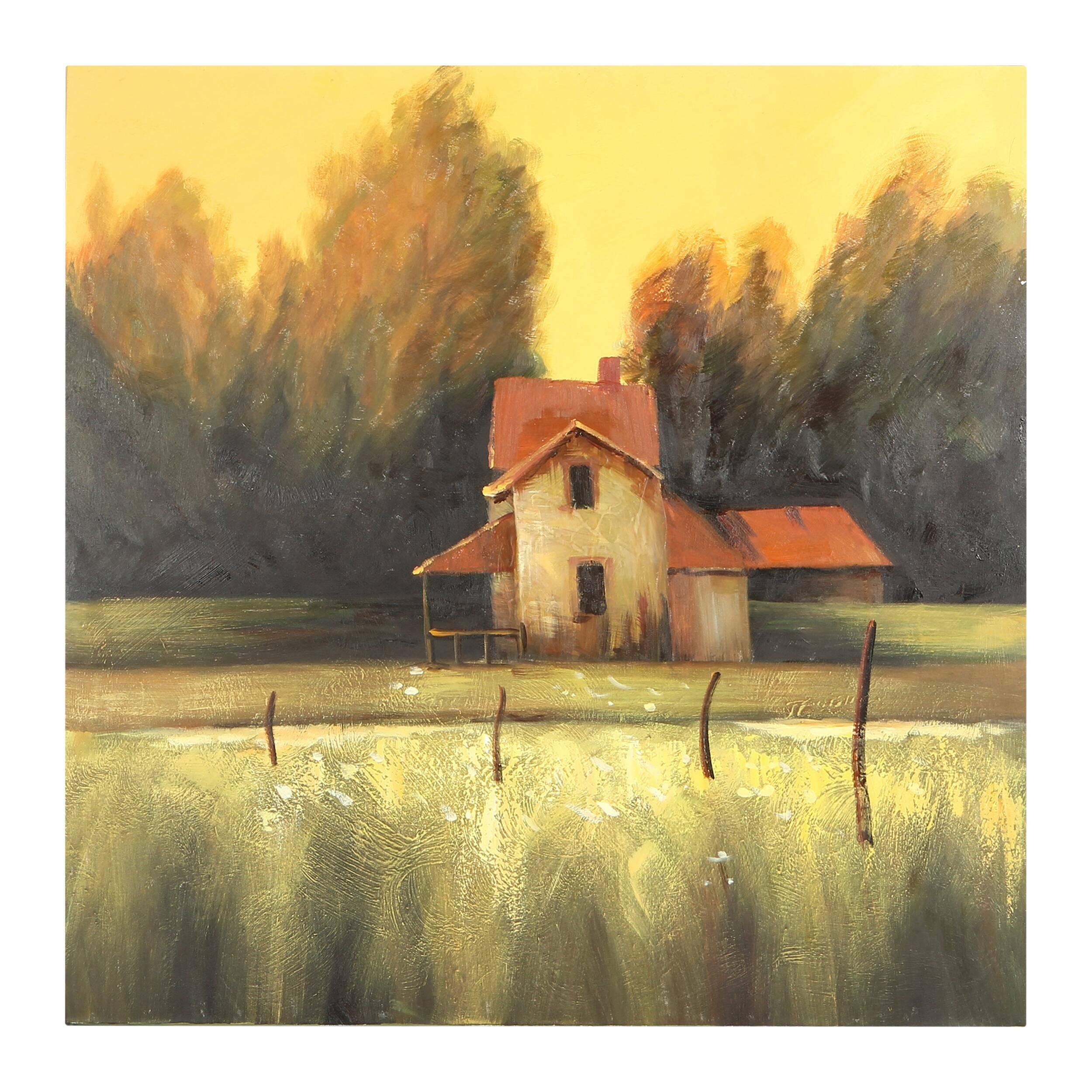 Купить Картина Farm Landscape, Cosmo, Разноцветный, Холст