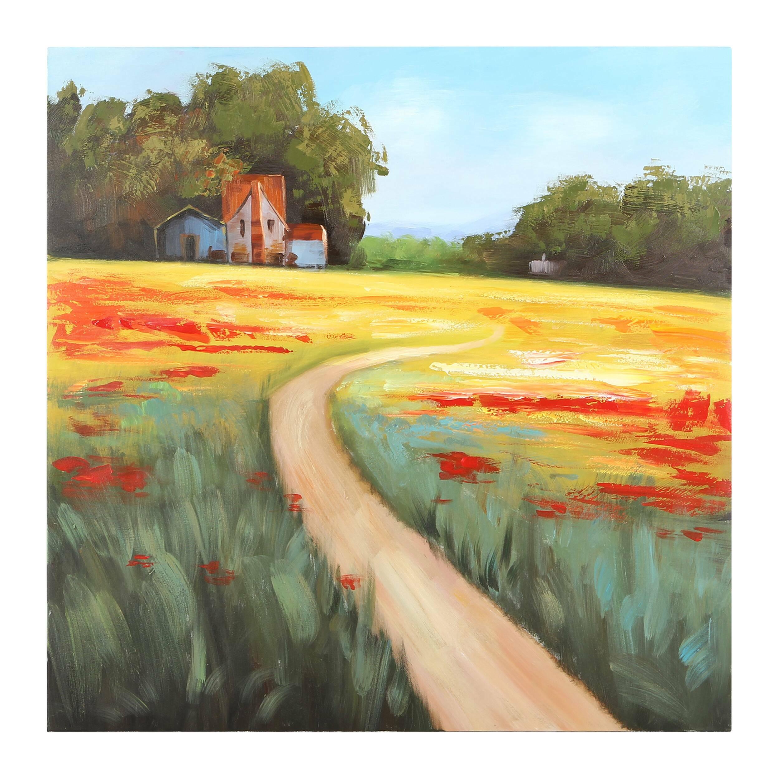 Купить Картина Poppy Field, Cosmo, Разноцветный, Холст