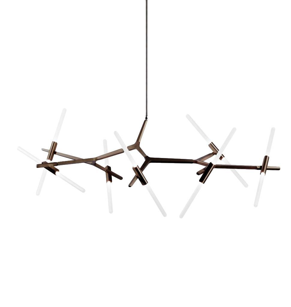 Подвесной светильник Agnes 14 лампПодвесные<br>Оригинальная геометрия подвесного светильника Agnes 14 ламп удачно дополнит интерьер спален, гостиных и офисных помещений. Стеклянные плафоны, закрепленные на алюминиевом каркасе, отражают веяния современного стиля и радуют функциональностью, максимально наполняя пространство светом. Сдержанная цветовая палитра позволит вам наиболее выигрышно расставить акценты и смягчит колористическое решение интерьера.<br><br><br> Автор данной модели — Линдси Адамс Адельман, превратившая осветительные прибо...<br><br>stock: 0<br>Высота: 131<br>Диаметр: 164<br>Количество ламп: 14<br>Материал абажура: Стекло<br>Материал арматуры: Алюминий<br>Мощность лампы: 2<br>Ламп в комплекте: Нет<br>Напряжение: 220<br>Тип лампы/цоколь: G9 LED<br>Цвет абажура: Белый<br>Цвет арматуры: Черный