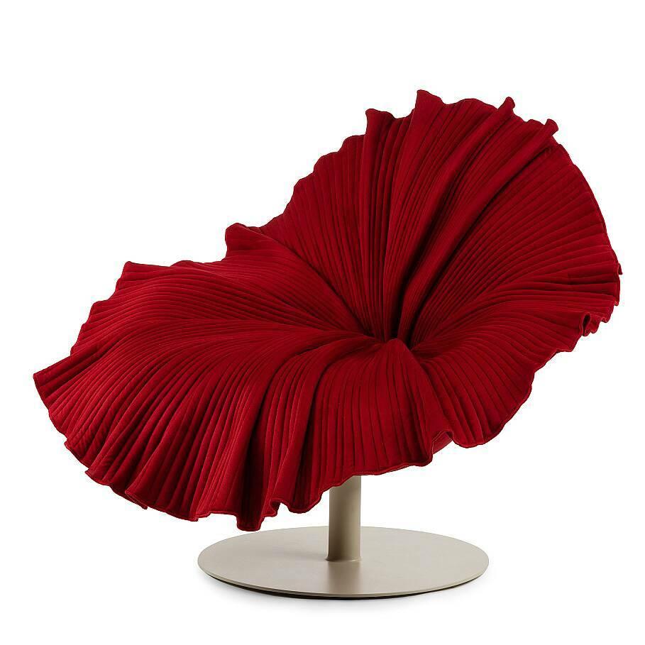 Кресло BloomИнтерьерные<br>Кресло Bloom — это произведение дизайнерского искусства, работа филиппинца Кеннета Кобонпу, черпающего свое вдохновение в древних азиатских практиках, в том числе — наблюдении за цветущим садом. <br><br><br>И кресло Bloom получилось именно таким, оно подобно распускающему бутону гибискуса.<br><br>stock: 0<br>Высота: 87<br>Ширина: 105<br>Глубина: 98<br>Материал обивки: Микрофибра<br>Тип материала каркаса: Стекловолокно<br>Тип материала обивки: Ткань<br>Цвет обивки: Красный