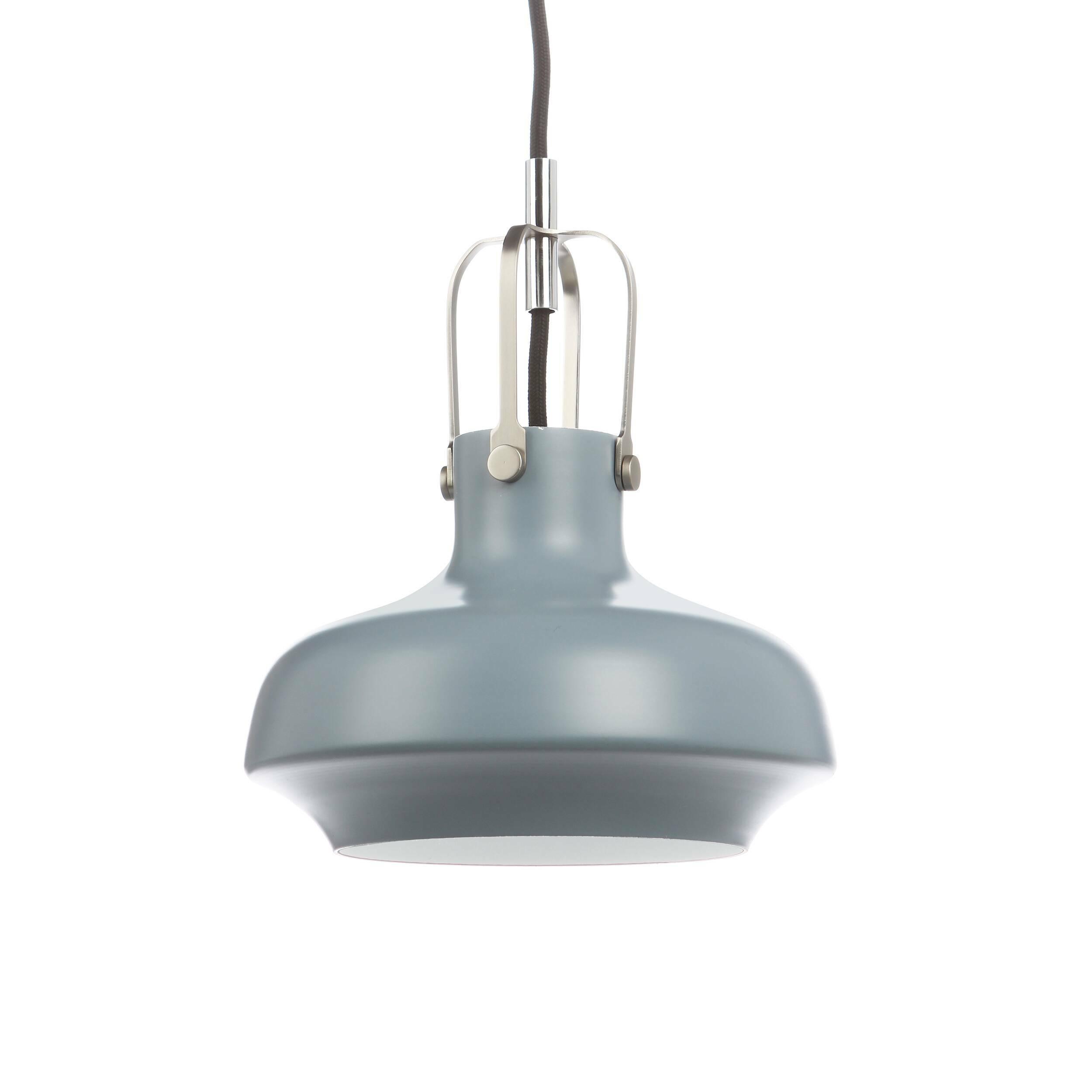 Подвесной светильник Copenhagen диаметр 20Подвесные<br>«Нам хотелось создать дизайн подвесного светильника с небольшим акцентом на индустриальный стиль, чтобы элегантность  и утонченность изделия никак не пострадала», — говорят дизайнеры светильника Copenhagen.  <br><br><br> Подвесной светильник Copenhagen диаметр 20 — это наглядный пример гармонии контрастных цветов. Комбинирование современного и классического дизайна, морской и индустриальной стилистики рождают стильный подвесной светильник, которому нельзя отказать в красоте. <br><br><br> Простой ...<br><br>stock: 0<br>Высота: 180<br>Диаметр: 20<br>Количество ламп: 1<br>Материал абажура: Алюминий<br>Мощность лампы: 40<br>Ламп в комплекте: Нет<br>Напряжение: 220<br>Тип лампы/цоколь: E27<br>Цвет абажура: Серый