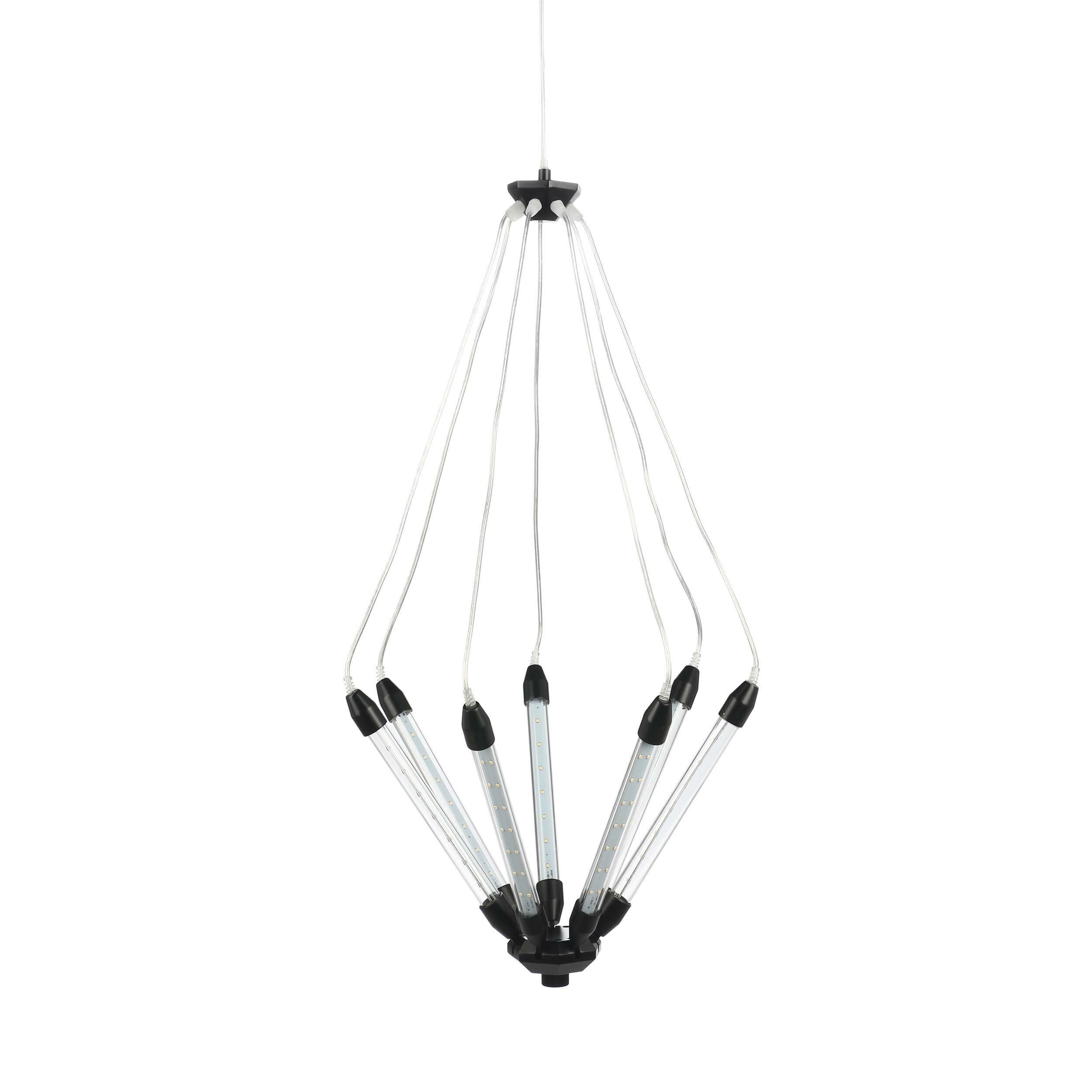 Подвесной светильник KroonПодвесные<br>Подвесной светильник Kroon — это особый дизайн, созданный с любовью к техно-стилю. Семь отдельных трубок со встроенными LED-лампочками объединены в одну конструкцию, которая по необычной задумке дизайнера предполагает подвижность. С помощью подъемного механизма вы с легкостью можете по-разному направлять свет и менять высоту. Это очень удобно в помещениях с невысокими потолками, но не менее удобно и в лофт-квартирах. <br><br><br> Прочный металлический сплав, из которого изготовлена конструкция,...<br><br>stock: 1<br>Высота: 180<br>Диаметр: 55<br>Количество ламп: 7<br>Материал абажура: Стекло<br>Материал арматуры: Металл<br>Мощность лампы: 1<br>Напряжение: 220<br>Тип лампы/цоколь: LED<br>Цвет абажура: Черный