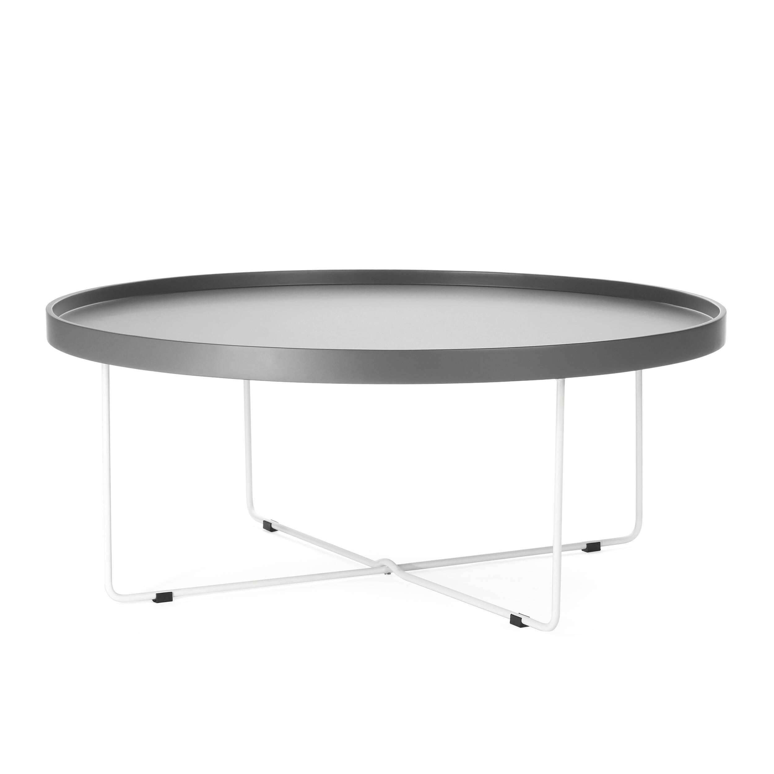 Кофейный стол SparkleКофейные столики<br>Дизайнерский большой легкий кофейный стол Sparkle (Спаркл) на стальных ножках от Cosmo (Космо).<br><br>Кофейный стол Sparkle — предмет, который с легкостью может стать полезным не только в интерьере. Благодаря тому, что он практически невесом, его можно переносить, брать с собой на пикники или в походы. Представьте себе романтическое свидание на берегу живописного озера: щебет птиц, ароматные напитки, свежий воздух... ну и конечно же оригинальный кофейный стол Sparkle! <br> <br> Столешницу Sparkle ...<br><br>stock: 0<br>Высота: 37<br>Диаметр: 90<br>Цвет ножек: Белый<br>Цвет столешницы: Холодный серый<br>Тип материала столешницы: МДФ<br>Тип материала ножек: Сталь
