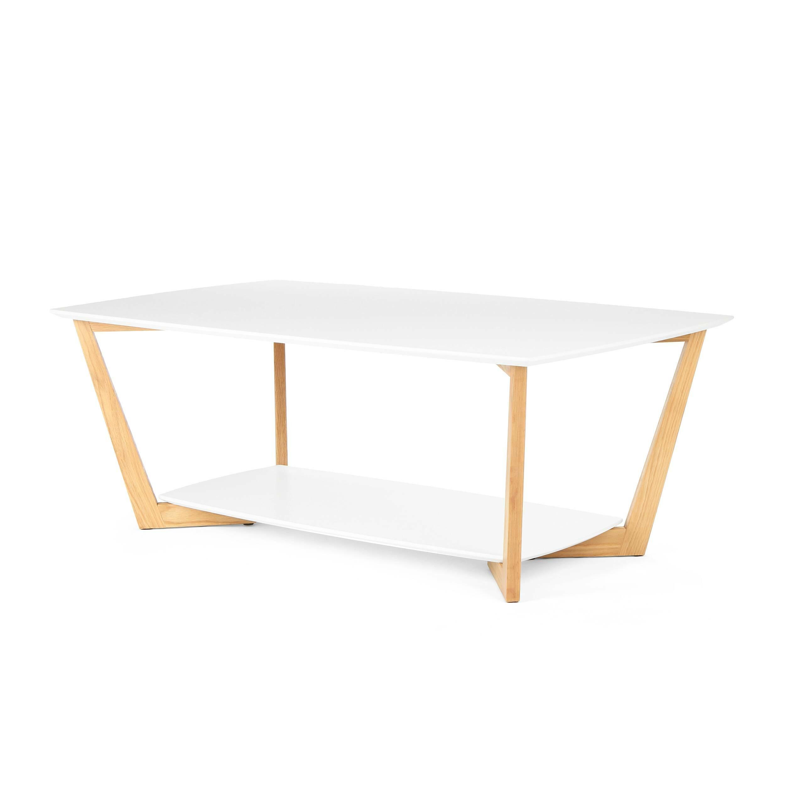 Кофейный стол BorderКофейные столики<br>Дизайнерский прямоугольный светлый кофейный столик Border (Бордер) на деревянных ножках от Cosmo (Космо).<br><br>Журнальный или кофейный стол — это постоянный атрибут любой современной гостиной. Это небольшой, но функциональный предмет мебели, который служит подставкой для светильника или пульта, а также столиком для сервировки небольшой трапезы. <br> <br> Оригинальный кофейный стол Border подходит для использования в гостиных, оформленных в современном стиле. Нижнюю полку столика можно использоват...<br><br>stock: 0<br>Высота: 45<br>Ширина: 70<br>Длина: 120<br>Цвет ножек: Светло-коричневый<br>Цвет столешницы: Белый<br>Материал ножек: Массив дуба<br>Тип материала столешницы: МДФ<br>Тип материала ножек: Дерево