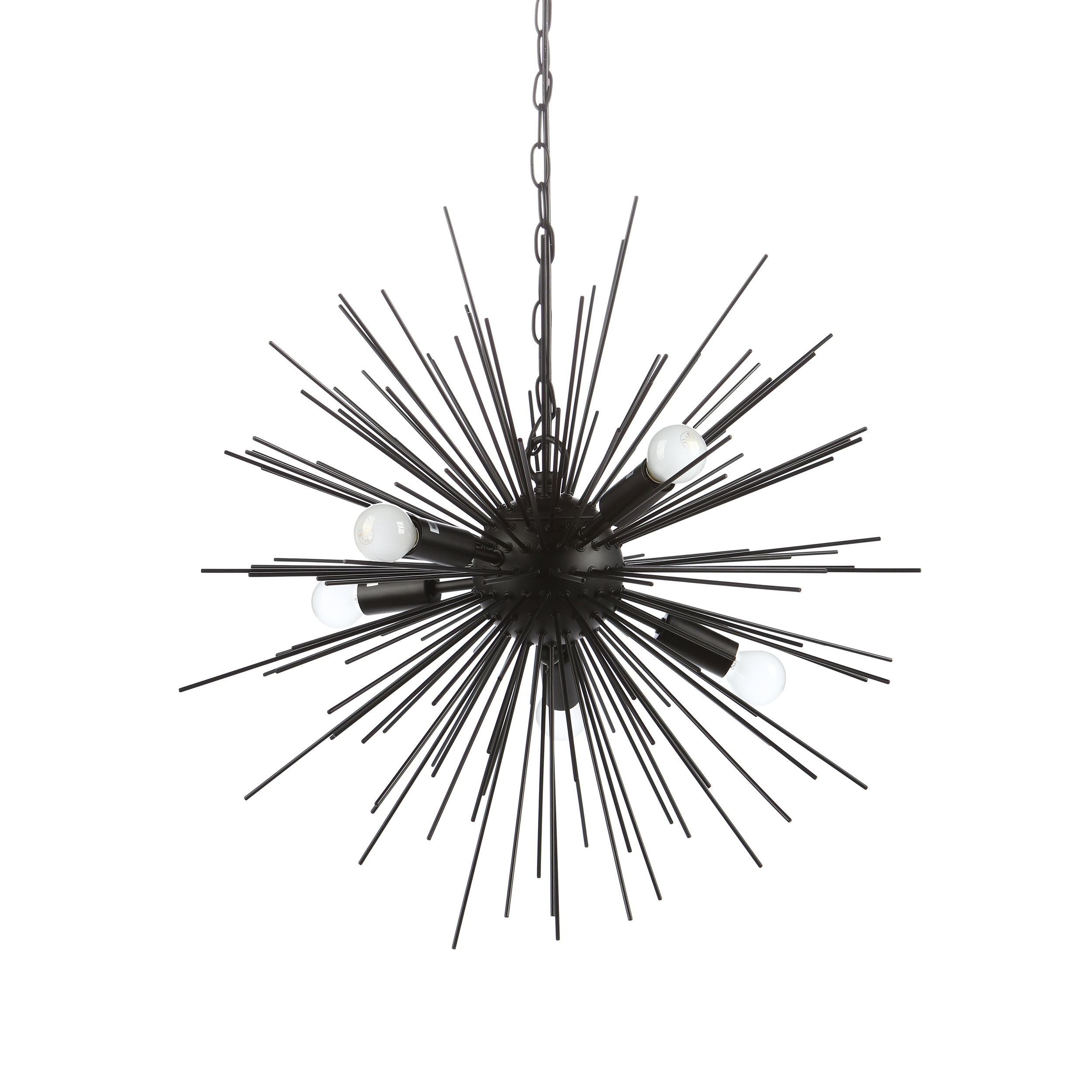 Подвесной светильник SputnikПодвесные<br>Подвесной светильник Sputnik — творение в стиле хай-тек, о чем говорит выбор материалов, форм и цвета. Высокотехнологичное исполнение также является тому подтверждением. <br> <br> Модель светильника исполнена в двух любимых цветах стиля хай-тек — черном и белом. Это универсальная цветовая база, которую легко сочетать как с яркими и сочными, так и с нейтральными цветами. Светильник прекрасно подходит и для кухонь, и для жилых комнат. Его легко комбинировать с другим комнатным освещением — любой на...<br><br>stock: 19<br>Диаметр: 60<br>Длина провода: 150<br>Количество ламп: 5<br>Материал абажура: Металл<br>Материал арматуры: Металл<br>Мощность лампы: 25<br>Ламп в комплекте: Нет<br>Напряжение: 220-240<br>Тип лампы/цоколь: E14<br>Цвет абажура: Черный матовый<br>Цвет арматуры: Черный матовый<br>Цвет провода: Черный