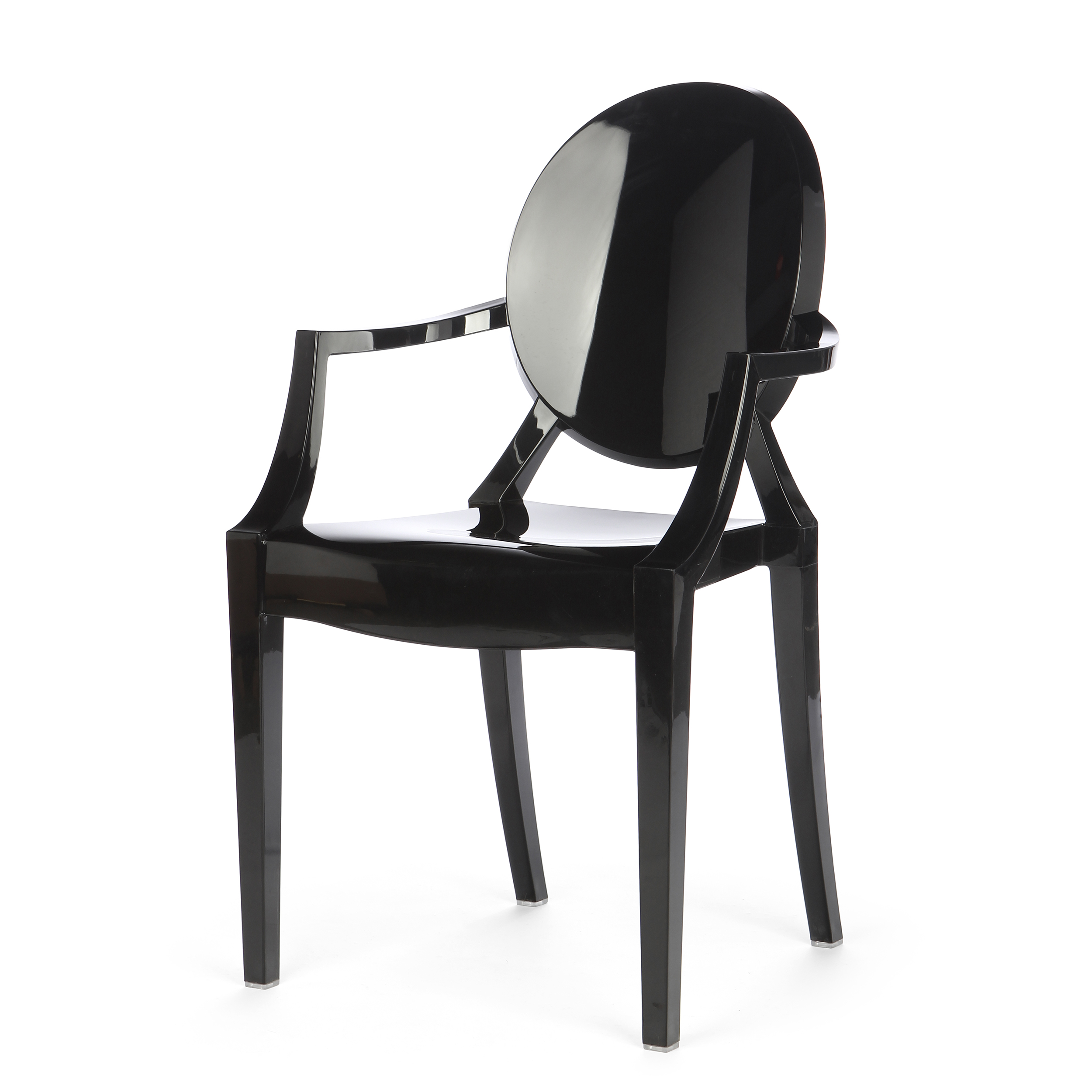 Стул Louis GhostИнтерьерные<br>Дизайнерский глянцевый жесткий пластиковый стул Louis Ghost (Луи Гост) с круглым сиденьем на четырех ножках от Cosmo (Космо).<br><br>     Волна любви к маэстро промышленного дизайна французу Филиппу Старку, захлестнувшая мир несколько лет назад, отнюдь не спадает. Его предметы давно стали must have любого стильного интерьера, и стул Louis Ghost не исключение. Этот бестселлер — ироничная фантазия на тему классического кресла в стиле Людовика XVI, не зря же и назван он «призрак Людовика». На бестел...<br><br>stock: 0<br>Высота: 92,5<br>Высота сиденья: 48,5<br>Ширина: 54<br>Глубина: 57,5<br>Материал каркаса: Поликарбонат<br>Тип материала каркаса: Пластик<br>Цвет каркаса: Черный