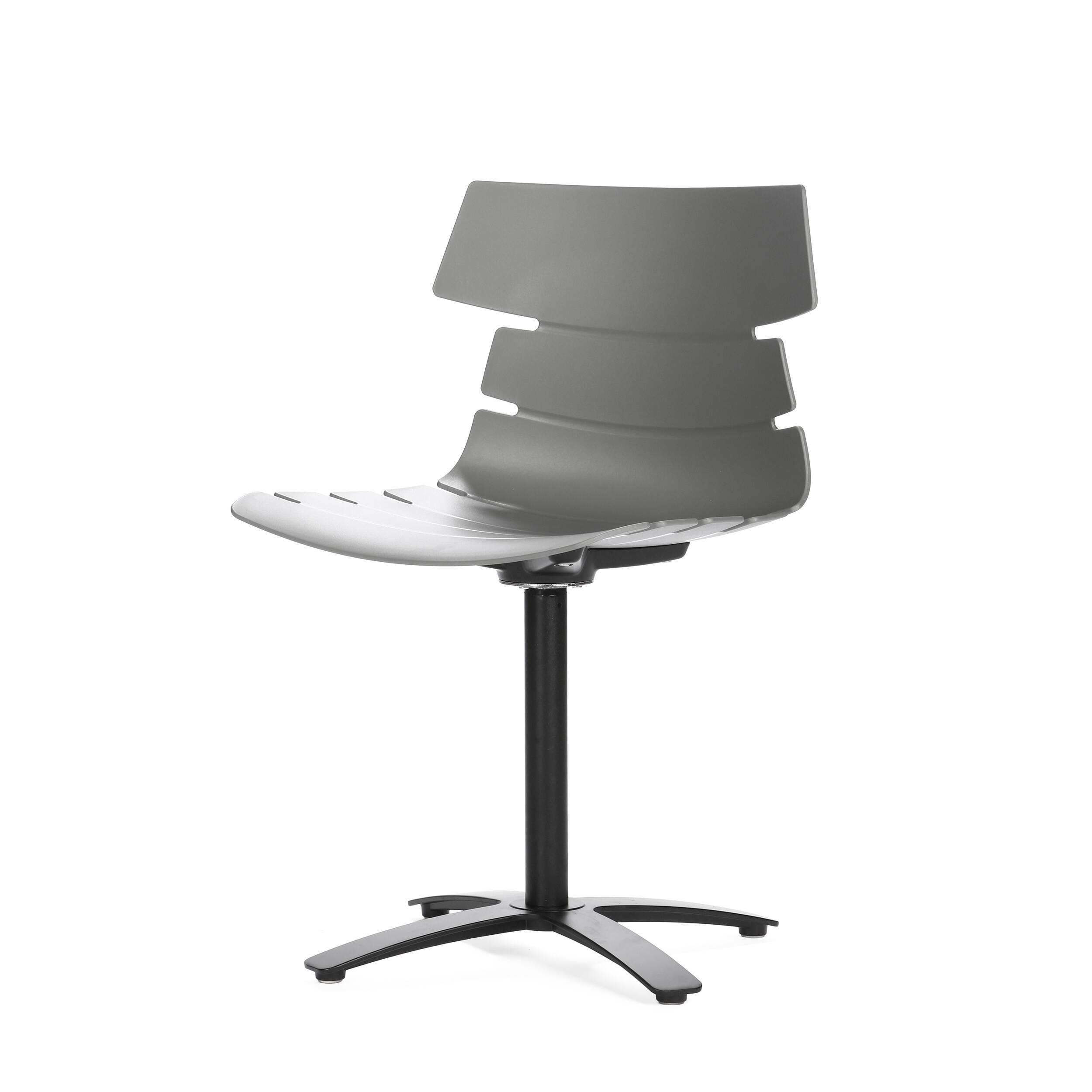 Стул TechnoИнтерьерные<br>Дизайнерский серый вращающийся стул Techno (Техно) из полипропилена на одной ножке от Cosmo (Космо).<br>Стул Techno — это своего рода интерпретация многофункциональных стульев-раковин. Однако дизайнер ушел от прямого сходства с морской фауной и оставил лишь часть оригинальной задумки, чтобы в конечном виде изделие подходило под большее количество интерьеров.<br> <br> Стул Techno можно расположить за барной стойкой или столешницей в стиле хай-тек или техно. Сделанный из металла и полиуретана оригина...<br><br>stock: 6<br>Высота: 83<br>Высота спинки: 45<br>Ширина: 51<br>Глубина: 51<br>Цвет ножек: Черный<br>Механизмы: Поворотная функция<br>Цвет сидения: Серый<br>Тип материала сидения: Полипропилен<br>Тип материала ножек: Сталь