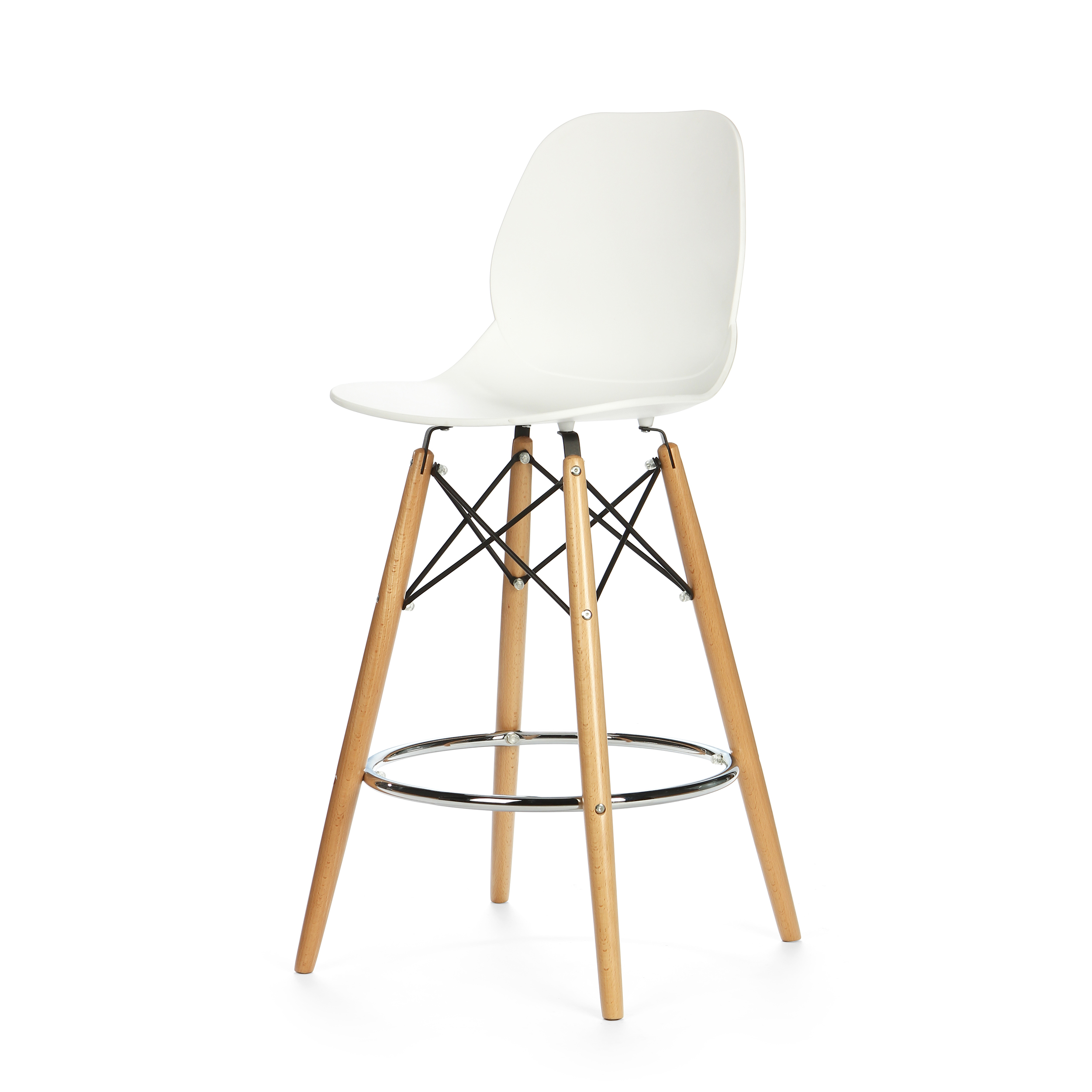 Барный стул EiffelБарные<br>Дизайнерский барный стул Eiffel (Айффэл) из полипропилена на светло-коричневых ножках от Cosmo (Космо). <br>Освежите дизайн своего домашнего или рабочего интерьера с помощью барного стула Eiffel от компании Cosmo. Уникальный и, главное, стильный дизайн стула Eiffel — залог безукоризненности вашего будущего интерьера. Все подобранные цвета, материалы и формы как нельзя лучше гармонируют друг с другом. Стул органично сочетается со столешницами как из натуральной светлой древесины, так и с искусст...<br><br>stock: 17<br>Высота: 106,5<br>Высота спинки: 68<br>Ширина: 45,5<br>Глубина: 49<br>Цвет ножек: Светло-коричневый<br>Материал ножек: Массив бука<br>Тип материала каркаса: Сталь<br>Цвет сидения: Белый<br>Тип материала сидения: Полипропилен<br>Цвет каркаса дополнительный: Хром<br>Тип материала ножек: Дерево<br>Цвет каркаса: Черный