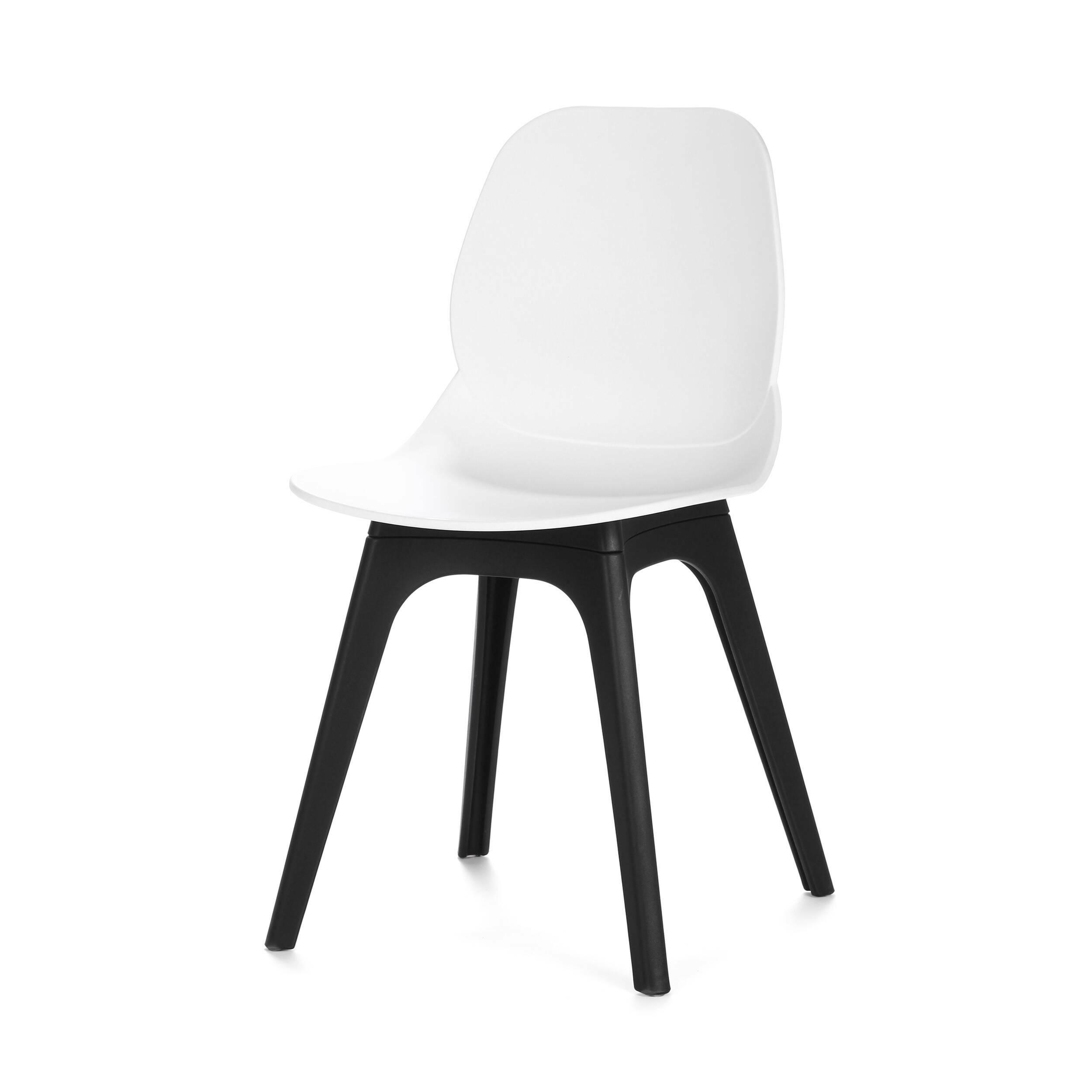 Стул InkingИнтерьерные<br>Дизайнерский черно-белый легкий стул Inking (Инкинг) из пластика без подлокотников на четырех ножках от Cosmo (Космо).<br>Обставляя комнату в современном стиле хай-тек или минимализм, дизайнер делает упор на простоту и лаконичность. В силуэтах предметов мебели и освещения не должно быть ни одной лишней детали — дизайн подчиняется функциональности. Если это стул, то исключительно для сидения, если обеденный стол, то только для трапез. <br> <br> Оригинальный стул Inking выполнен в соответствии с осно...<br><br>stock: 15<br>Высота: 83<br>Высота спинки: 45<br>Ширина: 45<br>Глубина: 49<br>Цвет ножек: Черный<br>Цвет сидения: Белый<br>Тип материала сидения: Полипропилен