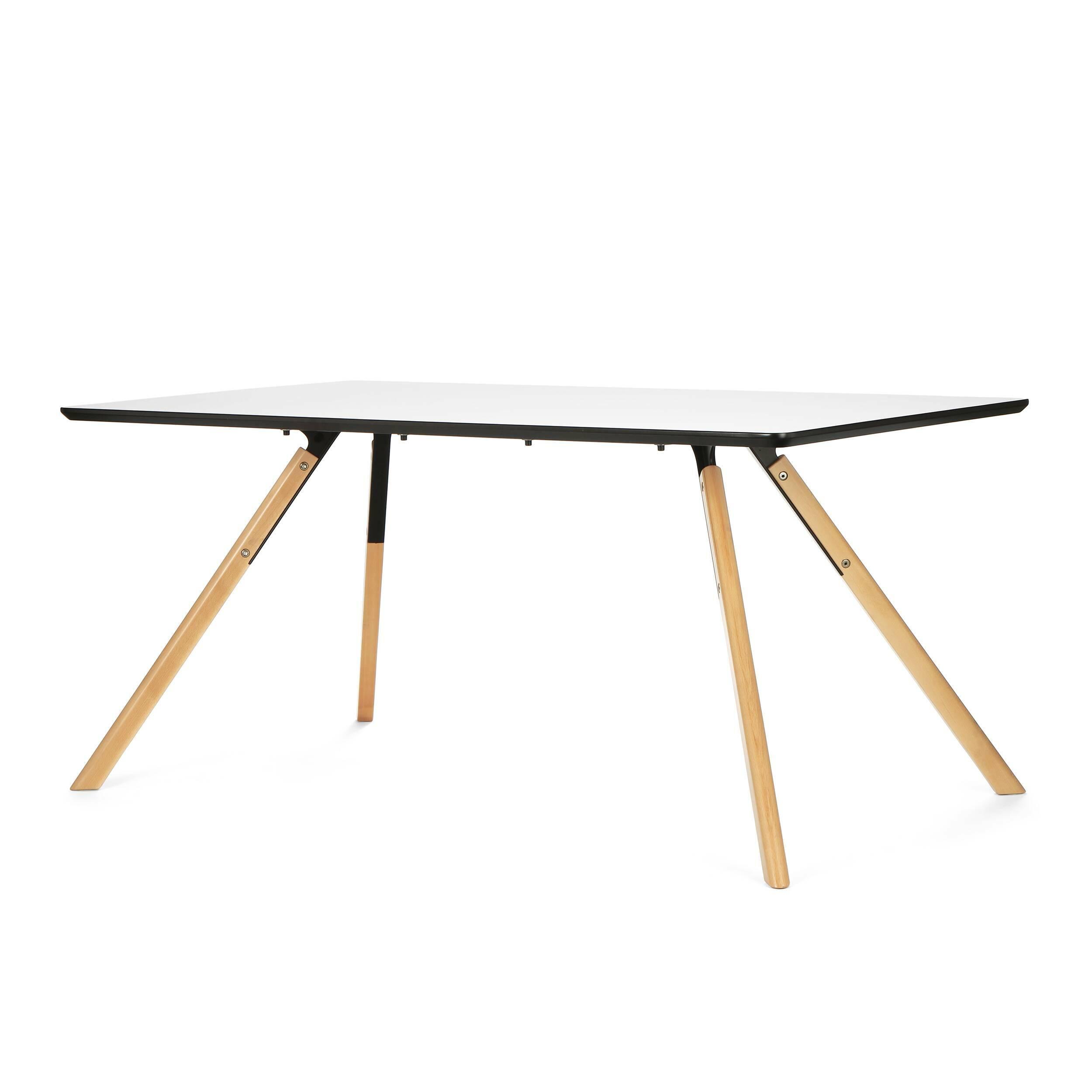Обеденный стол Arnhem прямоугольныйОбеденные<br>Поселите в своем доме частичку дизайнерского стиля в современном ключе вместе со столом Arnhem прямоугольный. Этот стильный дизайнерский предмет интерьера поднимает понятие уюта на новый уровень. <br> <br> Конструктивизм — вот стиль, который отлично описывает данную модель стола. Каждой его детали придали правильную геометрическую форму, что является обязательным атрибутом названного направления. Между тем конструктивизм любит холодные и монохромные цветовые гаммы, среди которых есть и белые тона...<br><br>stock: 0<br>Высота: 73<br>Ширина: 90<br>Длина: 160<br>Цвет ножек: Светло-коричневый<br>Цвет столешницы: Белый<br>Материал ножек: Массив бука<br>Тип материала столешницы: МДФ<br>Тип материала ножек: Дерево