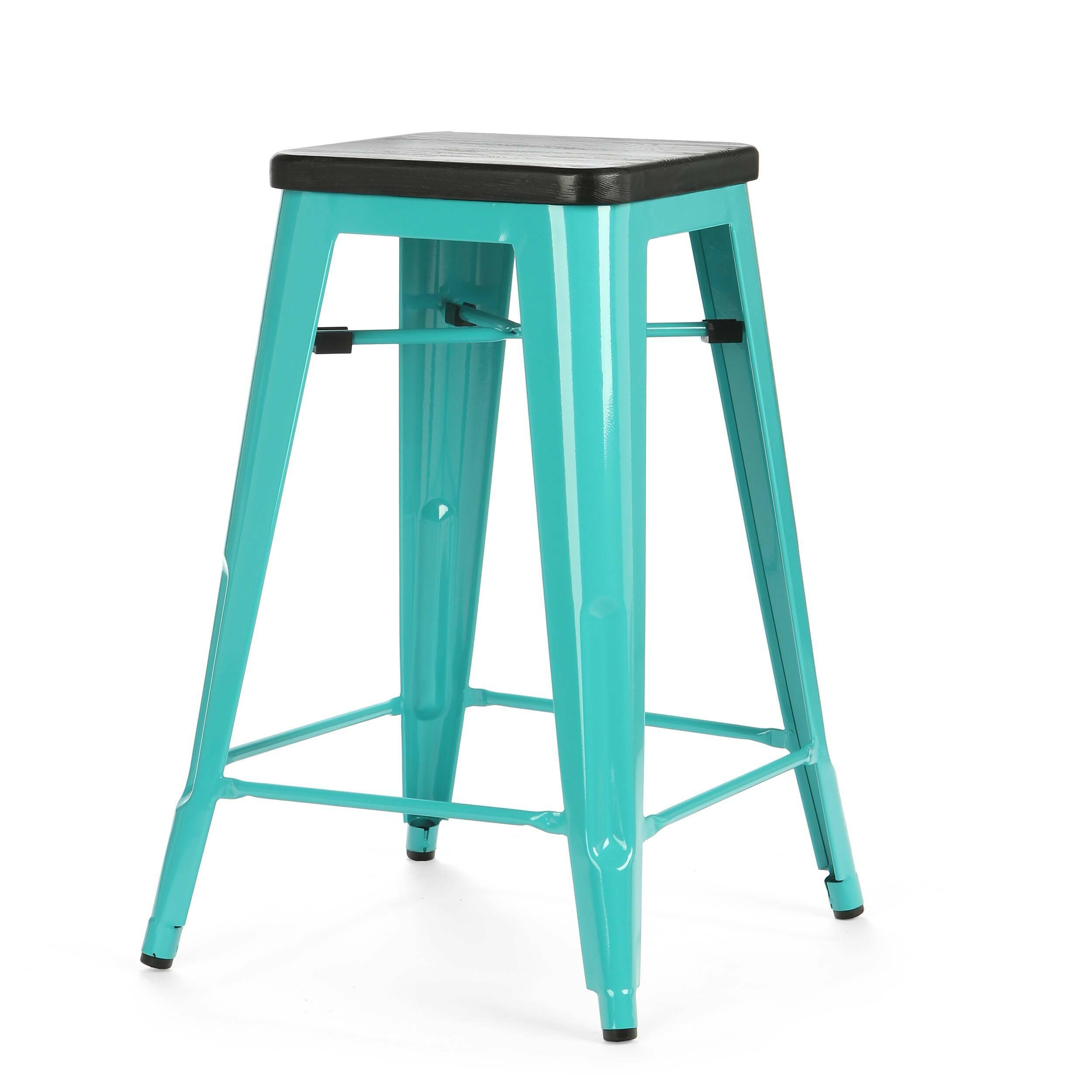 Барный стул Marais Color 1Полубарные<br>Хорошая мебель — это мебель стильная, удобная и надежная, простая в уходе. Так размышлял Ксавье Пошар, французский дизайнер ХХ века, и разработал целую серию предметов мебели, отвечающую этим запросам. Представляем вам барный стул Marais Color 1 с сиденьем из натурального дерева.<br><br><br> Тонкая гальванизированная сталь с порошковым напылением отлично воспринимает лакокрасочное покрытие, позволяя разнообразить палитру цветов, к тому же она очень долговечна. Продуманный дизайн предмета обесп...<br><br>stock: 5<br>Высота: 65<br>Ширина: 44<br>Ширина сиденья: 30<br>Глубина: 44<br>Глубина сиденья: 30<br>Тип материала каркаса: Сталь<br>Материал сидения: Массив дуба<br>Цвет сидения: Черный<br>Тип материала сидения: Дерево<br>Цвет каркаса: Бирюзовый