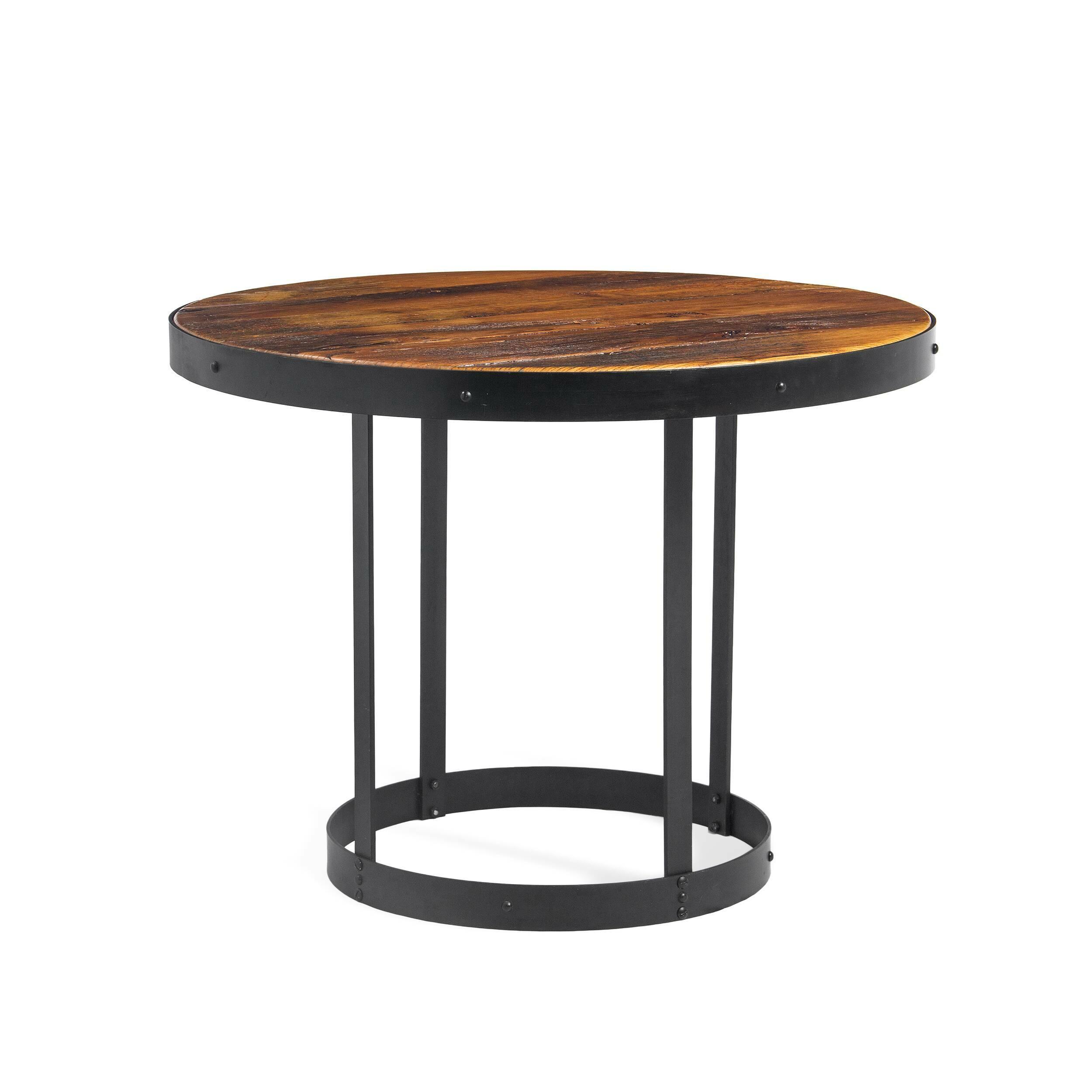 Обеденный стол CrampОбеденные<br>Дизайнерская круглый винтажный стол Cramp (Крэмп) со столешницей из состаренного массива вяза на металлическом каркасе от Cosmo (Космо).<br>         Представьте себе аромат горького кофе, спокойную музыку, мягкий свет. Кирпичные стены, кованые подсвечники и круглый винтажный столик — уютно, спокойно, можно с удовольствием расслабиться, отдыхая после рабочего дня. Изготовленный в индустриальном стиле стол Cramp сочетает в себе холод металла и теплоту дерева, он станет одним из тех важных элемент...<br><br>stock: 0<br>Высота: 75,5<br>Диаметр: 100<br>Цвет ножек: Черный<br>Цвет столешницы: Коричневый<br>Материал столешницы: Массив вяза состаренный<br>Тип материала столешницы: Дерево<br>Тип материала ножек: Сталь