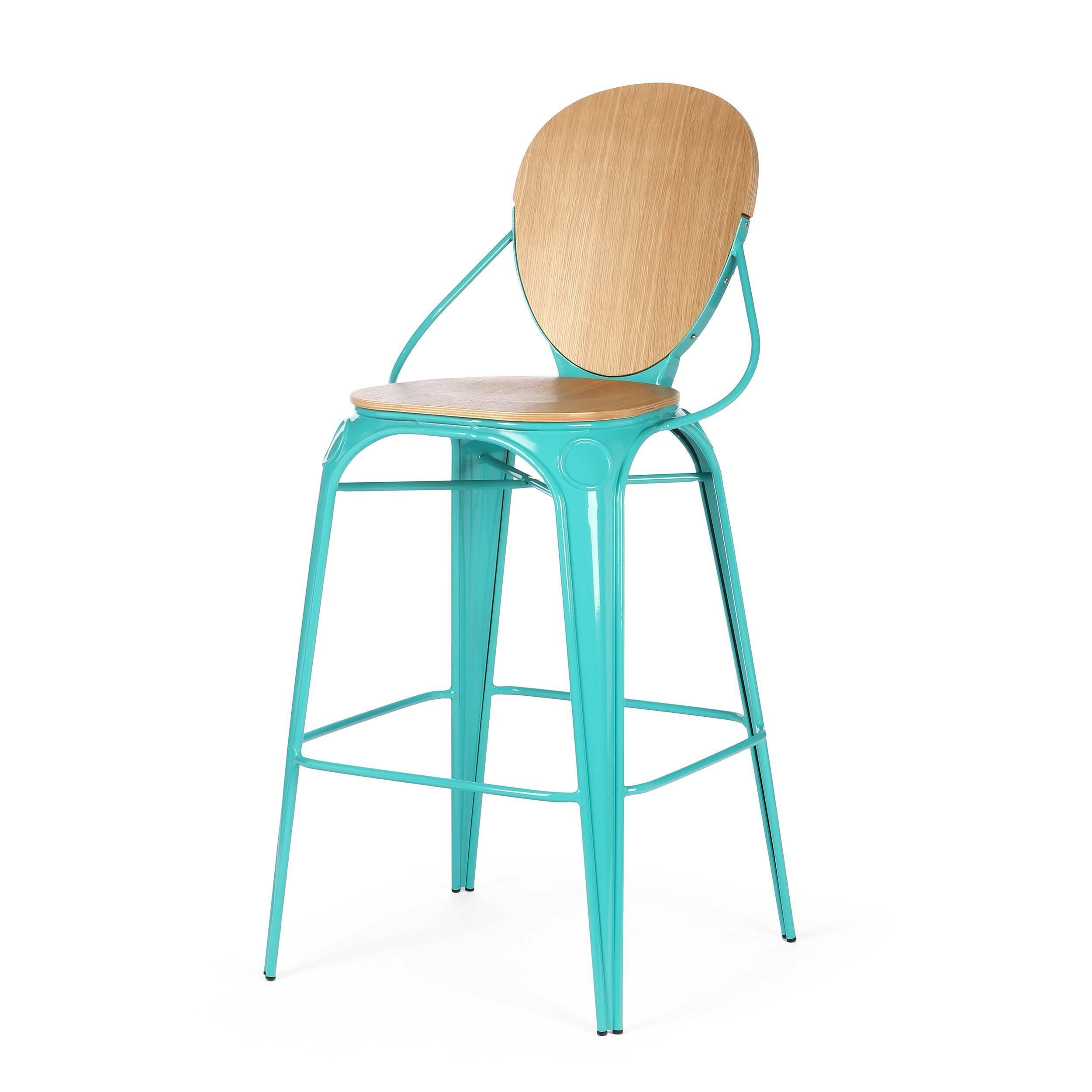 Барный стул LouixБарные<br>Дизайнерский деревянный барный стул Louix (Луикс) со стальным каркасом от Cosmo (Космо).<br>Все модели мебельной коллекции Louix выполнены в индустриальном стиле, который все больше становится константой среди современных европейских интерьеров. Индустриальный стиль, самый честный, откровенный, обнаженный. Показать все, что скрыто, — основная задача этого направления. Вся «подноготная» оказывается на виду: проводка, трубы, металлические конструкции... Старые вещи не выбрасываются — они становят...<br><br>stock: 0<br>Высота: 110<br>Высота сиденья: 74<br>Ширина: 65<br>Глубина: 54<br>Тип материала каркаса: Сталь<br>Материал сидения: Фанера, шпон дуба<br>Цвет сидения: Дуб<br>Тип материала сидения: Дерево<br>Цвет каркаса: Бирюзовый