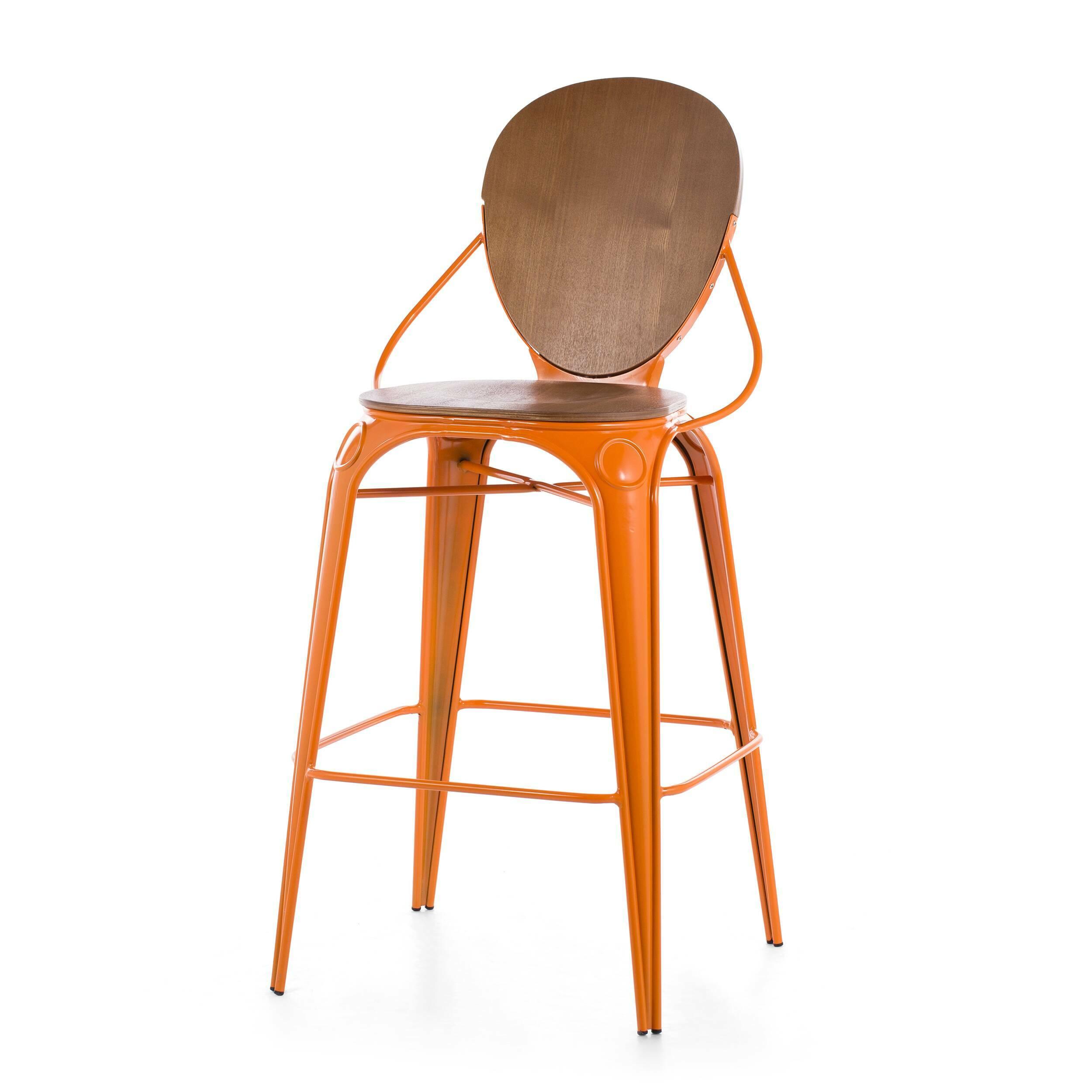 Барный стул LouixБарные<br>Дизайнерский деревянный барный стул Louix (Луикс) со стальным каркасом от Cosmo (Космо).<br>Все модели мебельной коллекции Louix выполнены в индустриальном стиле, который все больше становится константой среди современных европейских интерьеров. Индустриальный стиль, самый честный, откровенный, обнаженный. Показать все, что скрыто, — основная задача этого направления. Вся «подноготная» оказывается на виду: проводка, трубы, металлические конструкции... Старые вещи не выбрасываются — они становят...<br><br>stock: 5<br>Высота: 110<br>Высота сиденья: 74<br>Ширина: 65<br>Глубина: 54<br>Тип материала каркаса: Сталь<br>Материал сидения: Фанера, шпон ивы<br>Цвет сидения: Коричневый<br>Тип материала сидения: Дерево<br>Цвет каркаса: Оранжевый