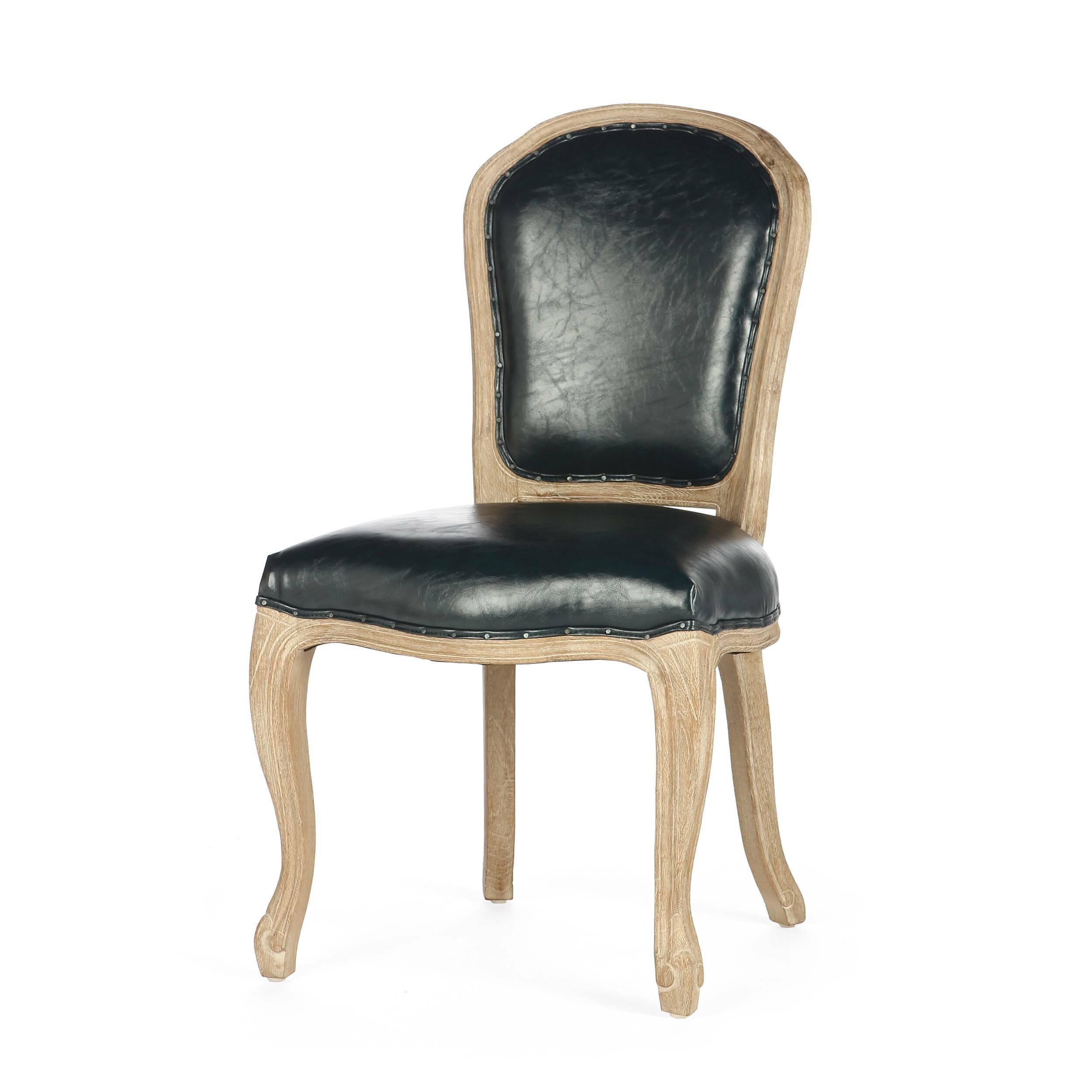 Стул LesterИнтерьерные<br>Дизайнерский классический стул Lester (Лестер) из состаренного массива дуба с кожаным черным сиденьем и спинкой от Cosmo (Космо).<br>Как просто создать роскошный и утонченный интерьер со стульями в викторианском стиле от компании Cosmo! Приметный дизайн и искусное исполнение оставляют больше впечатление, ведь мебель изготовлена в лучших традициях направления руками знающих свое дело столяров. <br> <br> Стул Lester — это классический стул в викторианском стиле. Оригинальная форма ножек, спинки и кар...<br><br>stock: 26<br>Высота: 97<br>Высота сиденья: 51<br>Ширина: 53<br>Глубина: 60<br>Наполнитель: Пена<br>Материал каркаса: Состаренный массив дуба<br>Тип материала каркаса: Дерево<br>Материал сидения: Полиуретан<br>Цвет сидения: Темно-синий<br>Тип материала сидения: Кожа искусственная<br>Цвет каркаса: Дуб