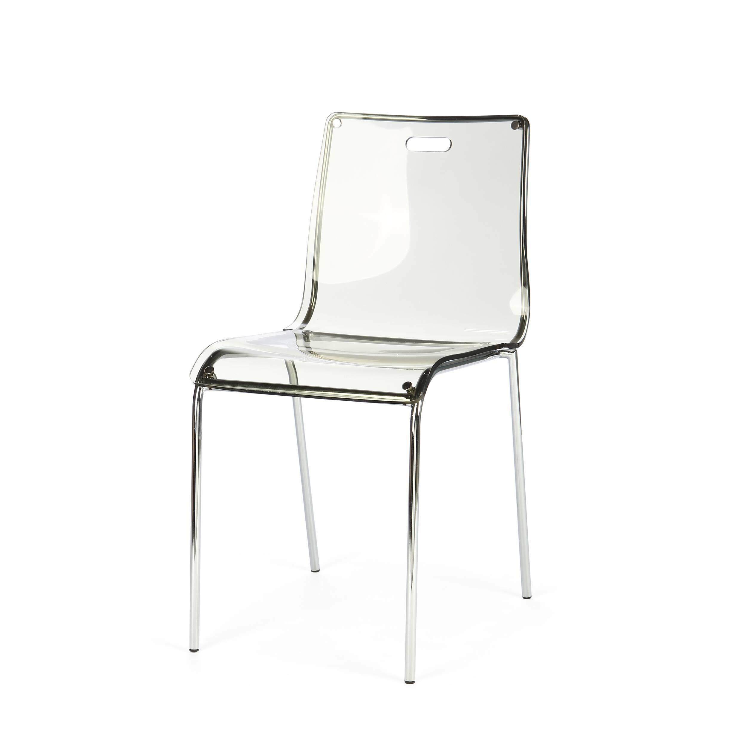 Стул AcrylicИнтерьерные<br>Cтул Acrylic — одна из моделей мебели одноименной коллекции. Вся линейка состоит из мебели, объединенной одним стилем и материалами исполнения. Acryl, или акрил — это материал, который хорош в изготовлении мебели с глянцевой поверхностью. Он обладает высокой прочностью и устойчивостью к истиранию. Он также водонепроницаем и отлично выдерживает перепады температур. <br> <br> Модель выполнена в тех же цветах, что и барный стул. Небесно-голубой и серый цвета лаконичны и универсальны для любого совре...<br><br>stock: 9<br>Высота: 79.5<br>Высота сиденья: 43-47.5<br>Ширина: 46.5<br>Глубина: 53<br>Цвет ножек: Хром<br>Цвет сидения: Дымчатый<br>Тип материала сидения: Акрил<br>Тип материала ножек: Сталь