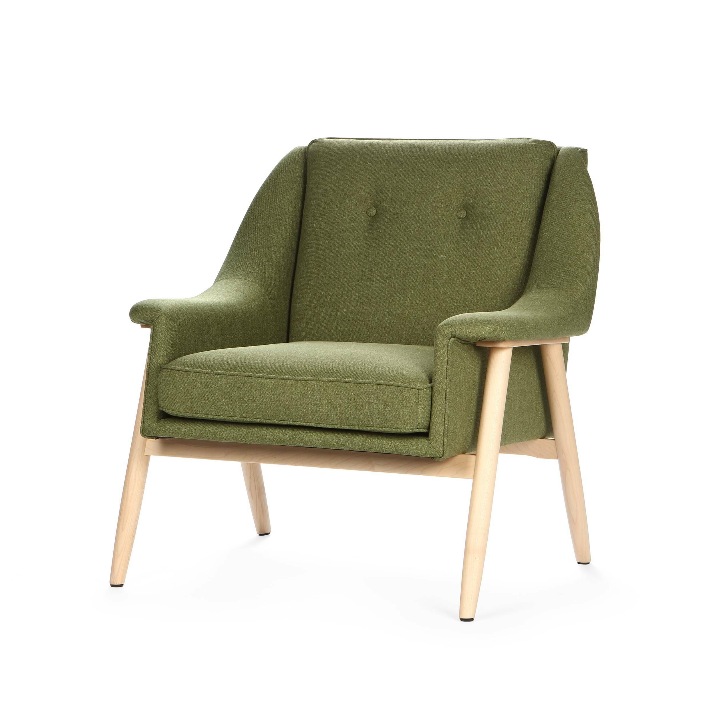 Кресло EdinburgИнтерьерные<br>Дизайнерское широкое комфортное кресло Edinburg (Эденбёрг) на деревянных ножках от Cosmo (Космо).<br><br><br> Кресло для отдыха с подлокотниками с простым и современным дизайном.<br><br><br> Кресло Edinburg первоначально было разработано в 1954 году. Настоящий датский шедевр ручной работы. Это одна из многих работ Финна Юля, датского дизайнера, новатора своего времени, предназначенная для массового производства. <br><br><br>Оригинальное кресло Edinburg построено по органическим лекалам, в которые идеально ...<br><br>stock: 5<br>Высота: 81<br>Высота сиденья: 43<br>Ширина: 82<br>Глубина: 82,5<br>Материал каркаса: Массив дуба<br>Материал обивки: Полиэстер<br>Тип материала каркаса: Дерево<br>Коллекция ткани: Gabriel Fabric<br>Тип материала обивки: Ткань<br>Цвет обивки: Оливковый<br>Цвет каркаса: Светло-коричневый