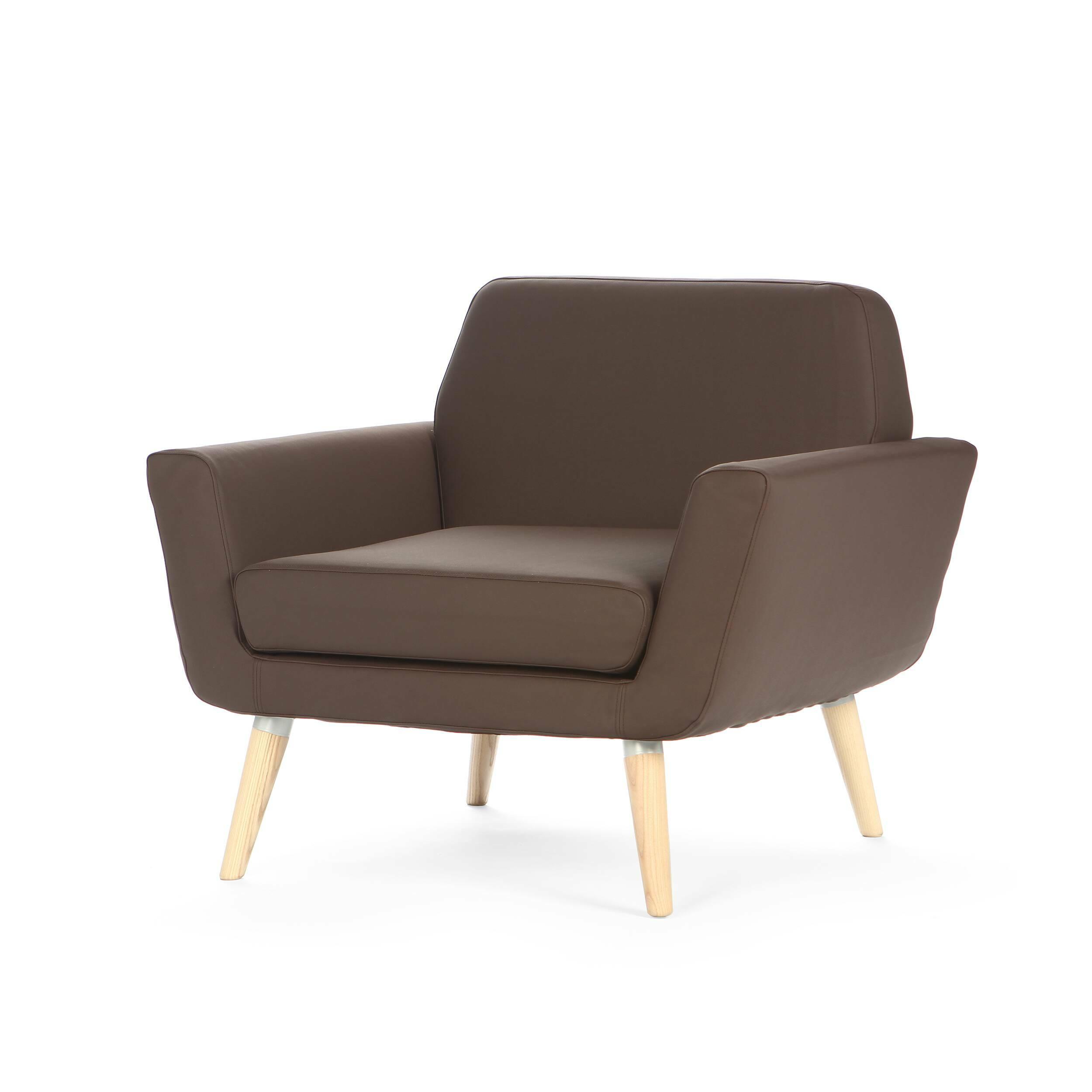 Кресло ScopeИнтерьерные<br>Дизайнерское небольшое кресло Scope (Скоуп) с кожаной обивкой на деревянных ножках от Softline (Софтлайн).<br><br><br> В городских квартирах, где на счету каждый сантиметр свободного пространства, кресло Scope станет идеальным для вас вариантом. Благодаря небольшой, удобной и компактной форме кресло Scope прекрасно впишется в современный интерьер. Оно весьма незамысловато, поэтому вы не ограничены в использовании дополнительных аксессуаров. Всего одной деталью вы можете придать изделию новый обли...<br><br>stock: 0<br>Высота: 73<br>Высота сиденья: 39<br>Ширина: 83<br>Глубина: 80<br>Материал обивки: Кожа эко<br>Цвет обивки: Тёмно-коричневый