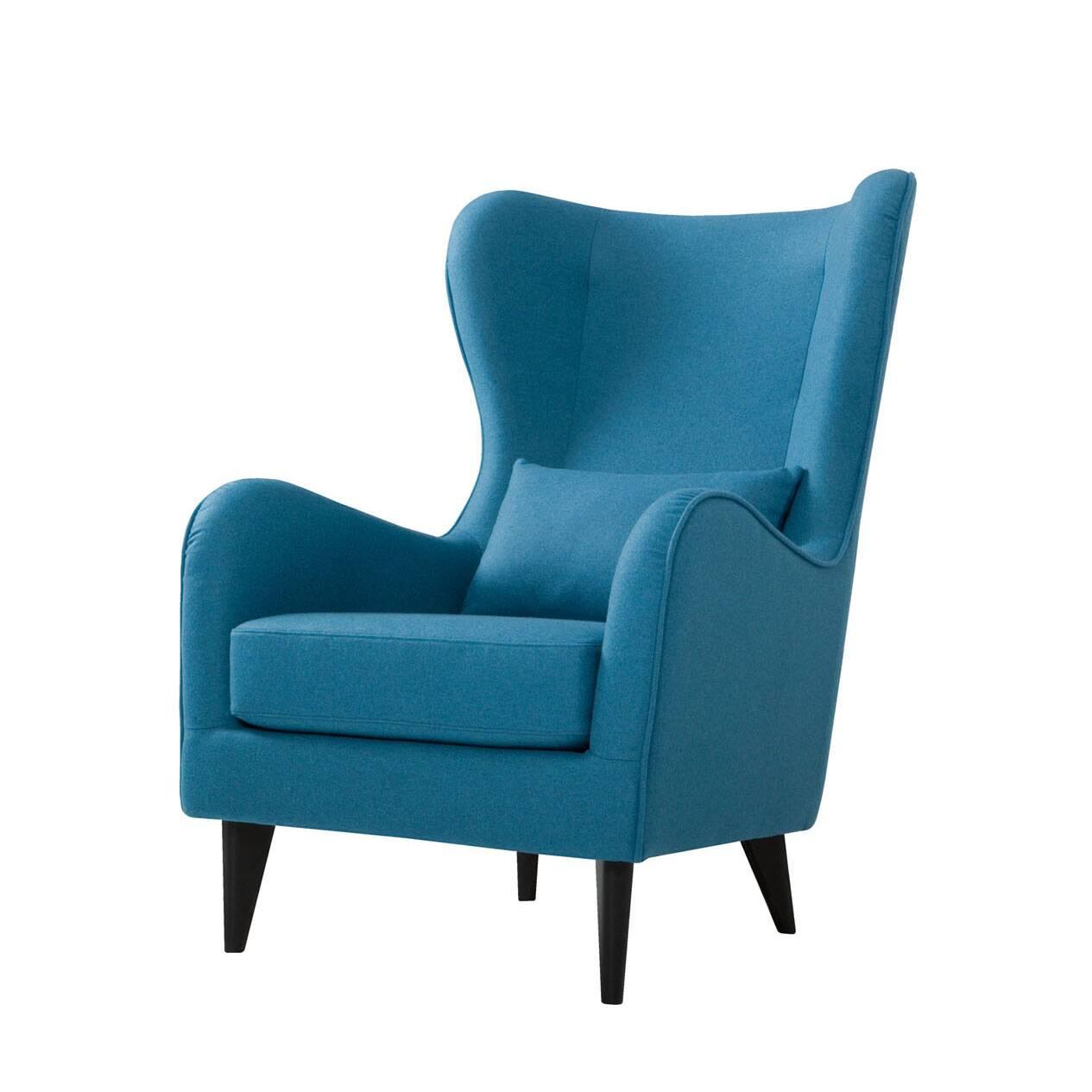 Кресло GretaИнтерьерные<br>Дизайнерское классическое удобное однотонное кресло Greta (Грета) с обивкой из хлопка, льна от Sits (Ситс).<br><br><br> Если вы ищете комфортное  и красивое кресло, которое сможет подойти как для личного отдыха, так и для уютного рабочего кабинета, то кресло Greta заслуживает вашего особого внимания. Его удобная, анатомической формы спинка и не менее удобные подлокотники способствуют действительно качественному отдыху и не дадут утомиться вашей спине. Расположенные с двух сторон «уши» позволят п...<br><br>stock: 0<br>Высота: 108<br>Высота сиденья: 45<br>Ширина: 77<br>Глубина: 93<br>Цвет ножек: Черный<br>Материал обивки: Шерсть, Полиамид<br>Степень комфортности: Стандарт комфорт<br>Коллекция ткани: Категория ткани III<br>Тип материала обивки: Ткань<br>Тип материала ножек: Дерево<br>Цвет обивки: Бирюзовый