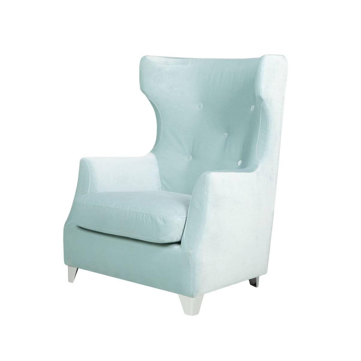 Кресло RoseИнтерьерные<br>Дизайнерское глубокое мягкое кресло Rose (Роуз) с ушами и подлокотниками от Sits (Ситс).<br><br><br> Необычные сочетания классических черт с легкими оттенками современного дизайна в интерьере — кресло Rose производит потрясающее впечатление как своим оформлением, так и очевидной комфортностью отдыха на нем. Главная примечательность кресла — его великолепная спинка. Высокая, слегка изогнутая по бокам, украшенная элегантными пуговицами — такая форма кресла идеально подходит для полноценного рассла...<br><br>stock: 0<br>Высота: 103<br>Высота сиденья: 42<br>Ширина: 82<br>Глубина: 86<br>Цвет ножек: Хром<br>Материал обивки: Полиэстер<br>Степень комфортности: Стандарт комфорт<br>Форма подлокотников: Стандарт<br>Коллекция ткани: Категория ткани III<br>Тип материала обивки: Ткань<br>Тип материала ножек: Металл<br>Цвет обивки: Светло-бирюзовый