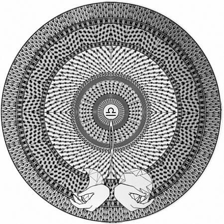Тарелка знак зодиака ВесыПосуда<br><br><br>stock: 0<br>Материал: Фарфор<br>Диаметр: 25