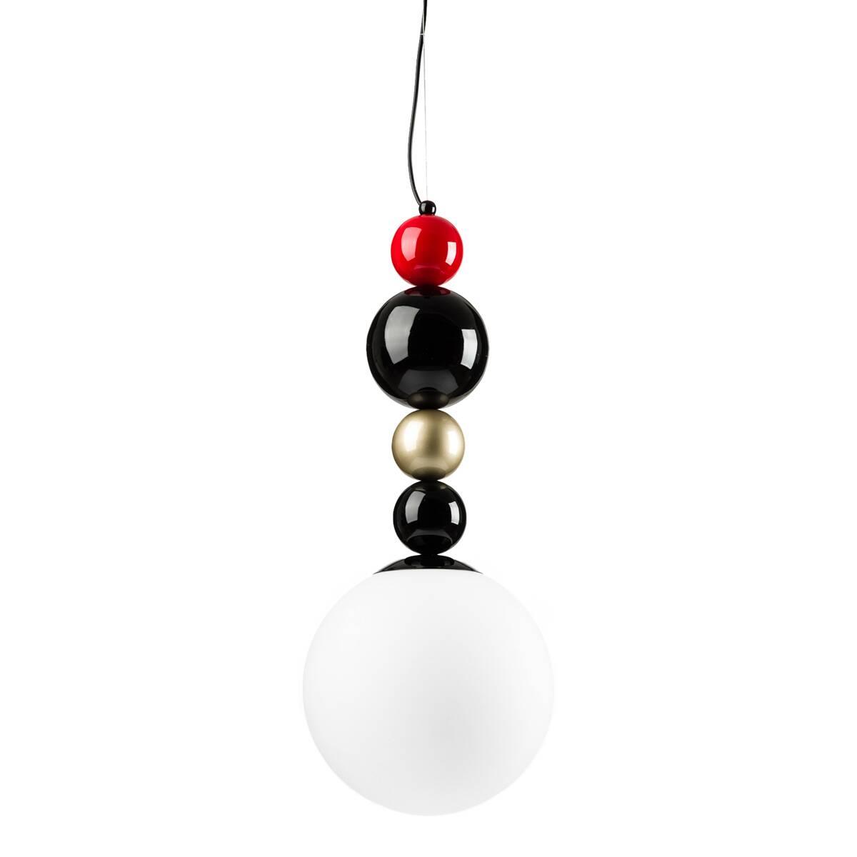 Подвесной светильник RGBПодвесные<br>Перед вами необычный стильный подвесной светильник, изобретение шведского дизайнера Фредрика Маттсона. Превосходное сочетание выразительного внешнего облика и прагматичной функциональности — вот характерные черты данного предмета.<br><br><br> Абажур светильника выполнен из белого матового стекла и имеет форму шара с диаметром 30 см. Закрепленный на металлическом стержне, на который нанизаны разнокалиберные цветные бусины, он не только радует глаз ювелирной красотой облика, но и обеспечивает ра...<br><br>stock: 1<br>Высота: 150<br>Диаметр: 30<br>Количество ламп: 1<br>Материал абажура: Стекло<br>Материал арматуры: Металл<br>Ламп в комплекте: Нет<br>Напряжение: 220<br>Тип лампы/цоколь: E14<br>Цвет абажура: Белый<br>Цвет арматуры: Разноцветный