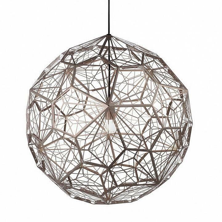 Подвесной светильник Etch Web диаметр 65Подвесные<br>ETCH WEB — это лампа необычной открытой структуры с большим абажуром размером 65 см, отбрасывающая угловатые, острые тени. Экспериментальная структура лампы представляет собой пятиугольник неправильной формы, который повторяется 60 раз вокруг центральной оси, создавая общую сферу.<br><br><br> Лампа в каком-то смысле представляет собой еще один эксперимент дизайнера. Светильник ETCH WEB выполнен из нержавеющей стали в золоте и хроме.<br><br>stock: 0<br>Высота: 180<br>Диаметр: 65<br>Количество ламп: 1<br>Материал абажура: Нержавеющая сталь<br>Мощность лампы: 60<br>Ламп в комплекте: Нет<br>Напряжение: 220<br>Тип лампы/цоколь: E27<br>Цвет абажура: Металл