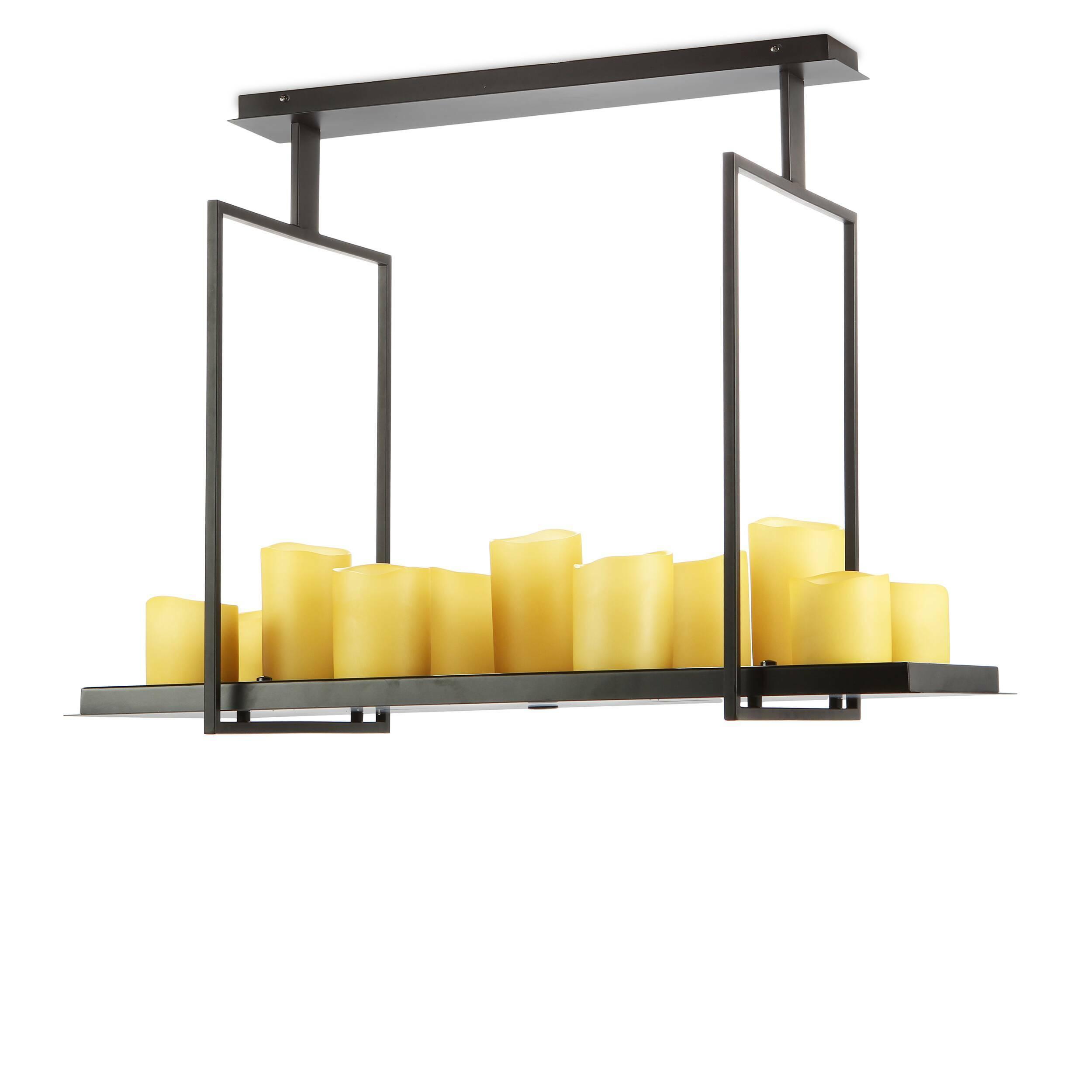 Потолочный светильник Altar 12 лампПотолочные<br>Гениальная идея Кевина Райлли: люстра, оживающая от магического прикосновения свечи, очаровывающая своим простым дизайном и балующая комфортом электрического света. Потолочный светильник Altar 12 ламп исполнен высочайшей элегантности и погружает любое пространство в прекрасный и таинственный свет. Невероятным образом Райлли соединяет современный дизайн с шармом многовековой культуры освещения. <br><br><br> Дизайнерский потолочный светильник Altar 12 ламп выполнен из стали и представлен в класс...<br><br>stock: 1<br>Высота: 82,5<br>Ширина: 40<br>Длина: 80<br>Количество ламп: 12<br>Материал абажура: Полистоун<br>Материал арматуры: Сталь<br>Мощность лампы: 1<br>Ламп в комплекте: Нет<br>Напряжение: 220<br>Тип лампы/цоколь: LED<br>Цвет абажура: Черный