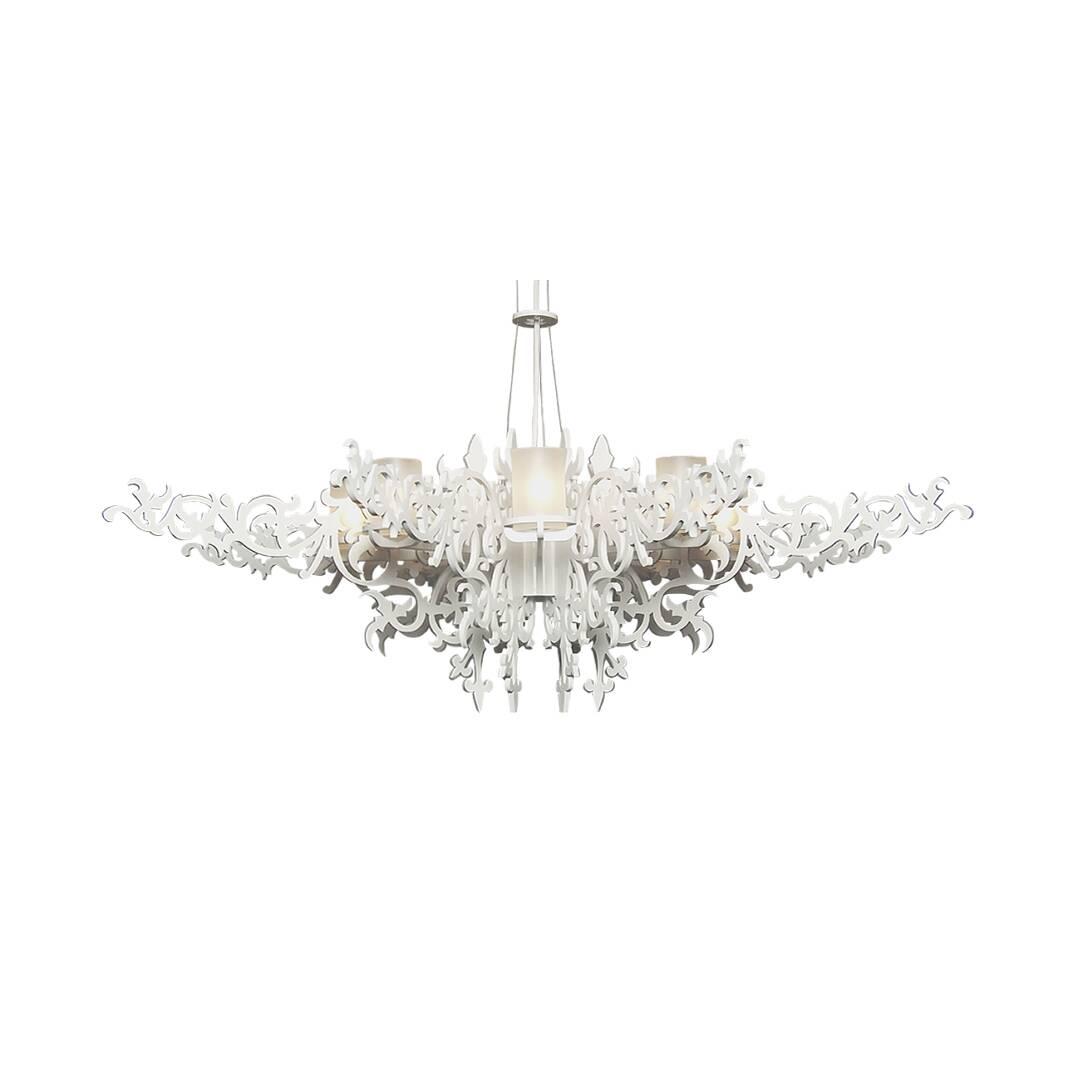 Подвесной светильник Mansion ChandelierПодвесные<br>Люстра Mansion - чистое великолепие, пронизанное викторианской эпохой, но сотворенное уже в наши дни. <br><br><br> Эта чудесная люстра подарит вашей комнате не только приятное освещение, но и удивительную атмосферу изысканности. Налет старины превосходно сочетается с алюминиевыми деталями, созданными при помощи инновационных технологий. Люстра излучает мягкий, но насыщенный свет, который придется к месту и в больших гостевых помещениях, и в маленьких комнатах обычной квартиры.<br><br><br> Ажурные фо...<br><br>stock: 0<br>Высота: 150<br>Диаметр: 100<br>Количество ламп: 8<br>Материал абажура: Стеклопластик<br>Мощность лампы: 40<br>Ламп в комплекте: Нет<br>Напряжение: 220<br>Тип лампы/цоколь: G9<br>Цвет абажура: Белый