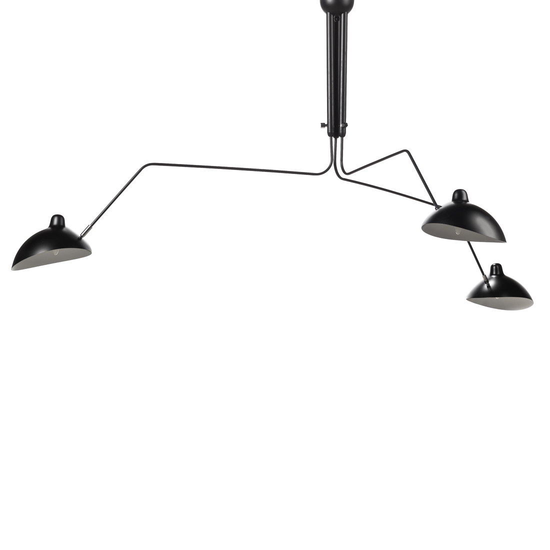 Потолочный светильник Spider Mouille 3 лампыПотолочные<br>Простой и элегантный, этот потолочный светильник поставит стильный акцент в интерьере вашего помещения. Три вращающиеся и гнущиеся «руки» разной длины с лампами с легкостью могут быть повернуты под любым удобным вам углом, изменив направление потока света. Центральное освещение более не является популярным в европейских домах и офисах. Пришло время для стильных дизайнерских светильников, изменивших подход в освещении помещений и создающих эффектное освещение, которое дополнительно подчерк...<br><br>stock: 2<br>Высота: 86,5<br>Диаметр: 267<br>Количество ламп: 3<br>Материал абажура: Алюминий<br>Материал арматуры: Сталь<br>Мощность лампы: 40<br>Ламп в комплекте: Нет<br>Напряжение: 220<br>Тип лампы/цоколь: E27<br>Цвет абажура: Черный матовый